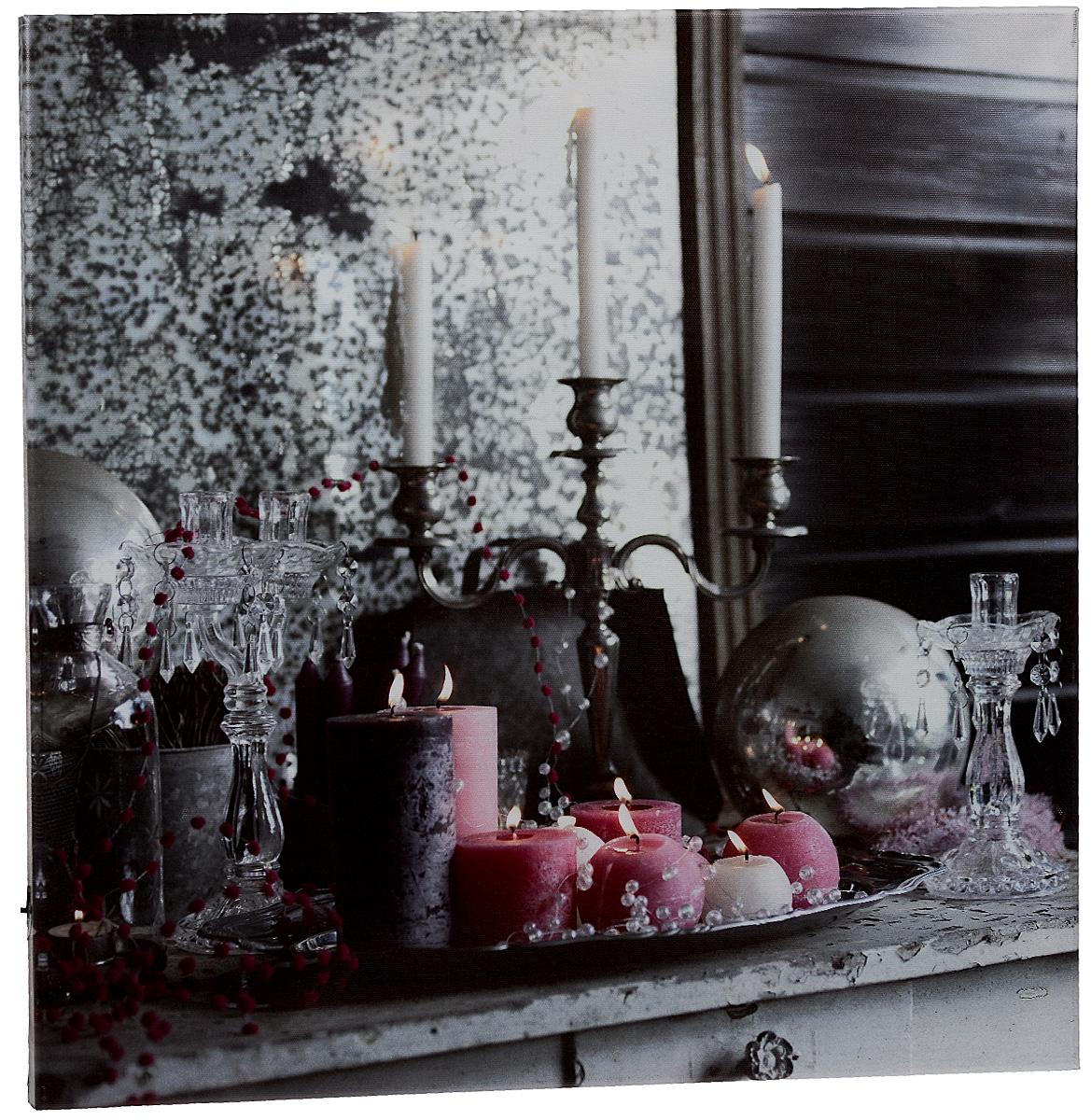 Картина MTH Праздничная декорация, со светодиодами, 50 х 50 смled5050-01Картина MTH Праздничная декорация выполнена на основе из МДФ, обтянутой холстом. Изделие оснащено светодиодами. Их теплый мерцающий в темноте свет оживит ваш дом и добавит ему уюта. На картине изображены свечи. Благодаря светодиодной подсветке создается ощущение, что теплый свет, исходящий от свечей, действительно может согревать. С оборотной стороны картина оснащена специальным отверстием для подвешивания на стену. Необычная картина придаст интерьеру невероятного шарма и оригинальности. Рисунок успокаивает нервную систему, помогая расслабиться и отвлечься от повседневных забот. Подсветка работает от 2 батареек типа АА напряжением 1,5V (в комплект не входят).