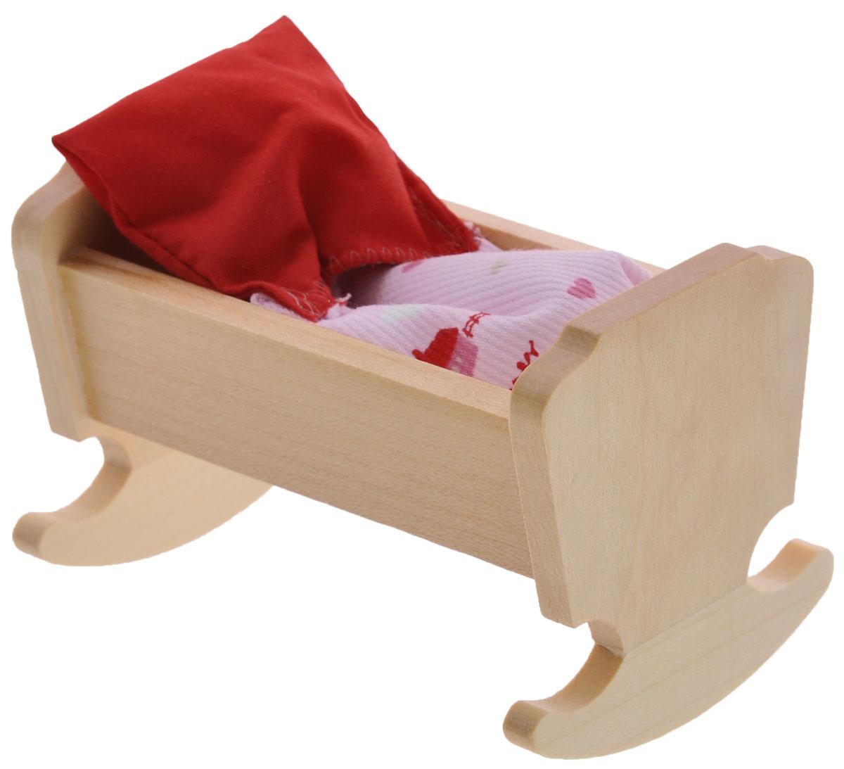 Minimir Колыбель с аксессуарами цвет бежевый13-4646-00Колыбель для пупса создана, чтобы кукла вашей малышки сладко спала и видела сказочные сны. Колыбель выполнена из натурального бука и клена и снабжена закругленными опорами, благодаря чему ее можно использовать как качалку. Набор включает в себя колыбель и мягкое одеяльце. Подходит для пупса высотой 7,5 см. Теперь ваша малышка сможет убаюкивать своих кукол в удобной колыбели-качалке. Порадуйте ее таким замечательным подарком! Мебель и аксессуары для игровых кукол Минимир выпускают на фабрике в Германии. В производстве кукольной мебели используются качественные породы бука и клена. При создании кукол и аксессуаров от компании Минимир используются исключительно качественные материалы: натуральное дерево и текстиль. Игра с миниатюрными куклами и аксессуарами тренирует мелкую моторику пальцев рук, стимулирует развитие речи и логического мышления. Маленький размер игрушек позволяет играть в абсолютно любом месте, их удобно брать с собой на занятия или...