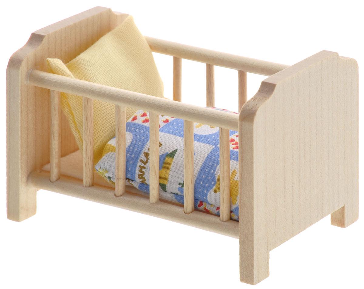 Минимир Кровать с аксессуарами цвет бежевый желтый голубой13-4548-00_желтый/голубойКровать для пупса создана, чтобы кукла вашей малышки сладко спала и видела сказочные сны. Кроватка выполнена из натурального бука и клена, гипоаллергенна и абсолютно безопасна для ребенка. Набор включает в себя кроватку и мягкое одеяльце. Подходит для пупса высотой 7,5 см. Теперь ваша малышка сможет убаюкивать своих кукол в удобной кроватке. Порадуйте ее таким замечательным подарком! Мебель и аксессуары для игровых кукол Минимир выпускают на фабрике в Германии. В производстве кукольной мебели используются качественные породы бука и клена. При создании кукол и аксессуаров от компании Минимир используются исключительно качественные материалы: натуральное дерево и текстиль. Игра с миниатюрными куклами и аксессуарами тренирует мелкую моторику пальцев рук, стимулирует развитие речи и логического мышления. Маленький размер игрушек позволяет играть в абсолютно любом месте, их удобно брать с собой на занятия или увлекательно проводить время в дороге во время...