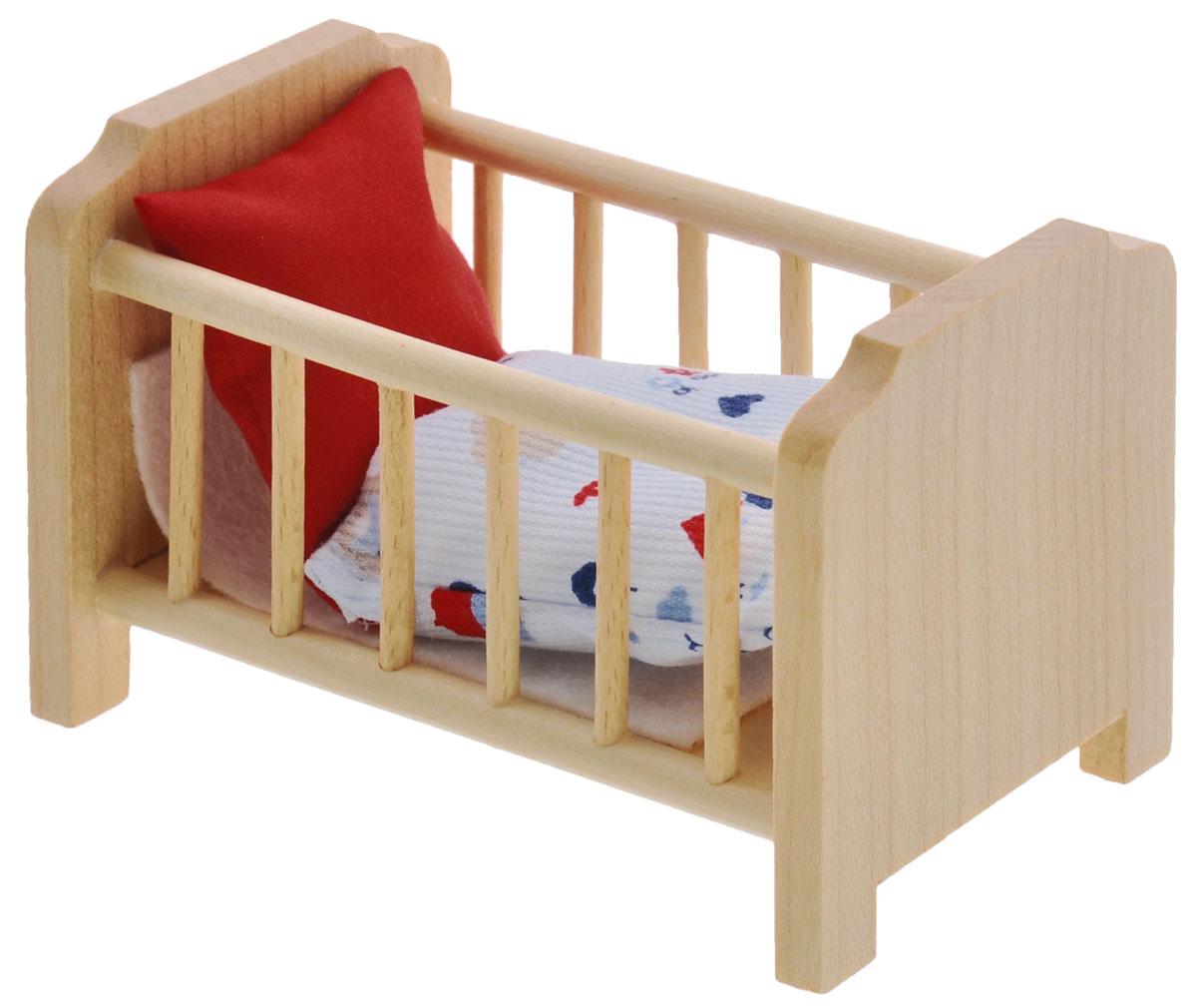 Minimir Кровать с аксессуарами цвет бежевый13-4548-00Кровать для пупса создана, чтобы кукла вашей малышки сладко спала и видела сказочные сны. Кроватка выполнена из натурального бука и клена, гипоаллергенна и абсолютно безопасна для ребенка. Набор включает в себя кроватку и мягкое одеяльце. Подходит для пупса высотой 7,5 см. Теперь ваша малышка сможет убаюкивать своих кукол в удобной кроватке. Порадуйте ее таким замечательным подарком! Мебель и аксессуары для игровых кукол Минимир выпускают на фабрике в Германии. В производстве кукольной мебели используются качественные породы бука и клена. При создании кукол и аксессуаров от компании Минимир используются исключительно качественные материалы: натуральное дерево и текстиль. Игра с миниатюрными куклами и аксессуарами тренирует мелкую моторику пальцев рук, стимулирует развитие речи и логического мышления. Маленький размер игрушек позволяет играть в абсолютно любом месте, их удобно брать с собой на занятия или увлекательно проводить время в дороге во время...