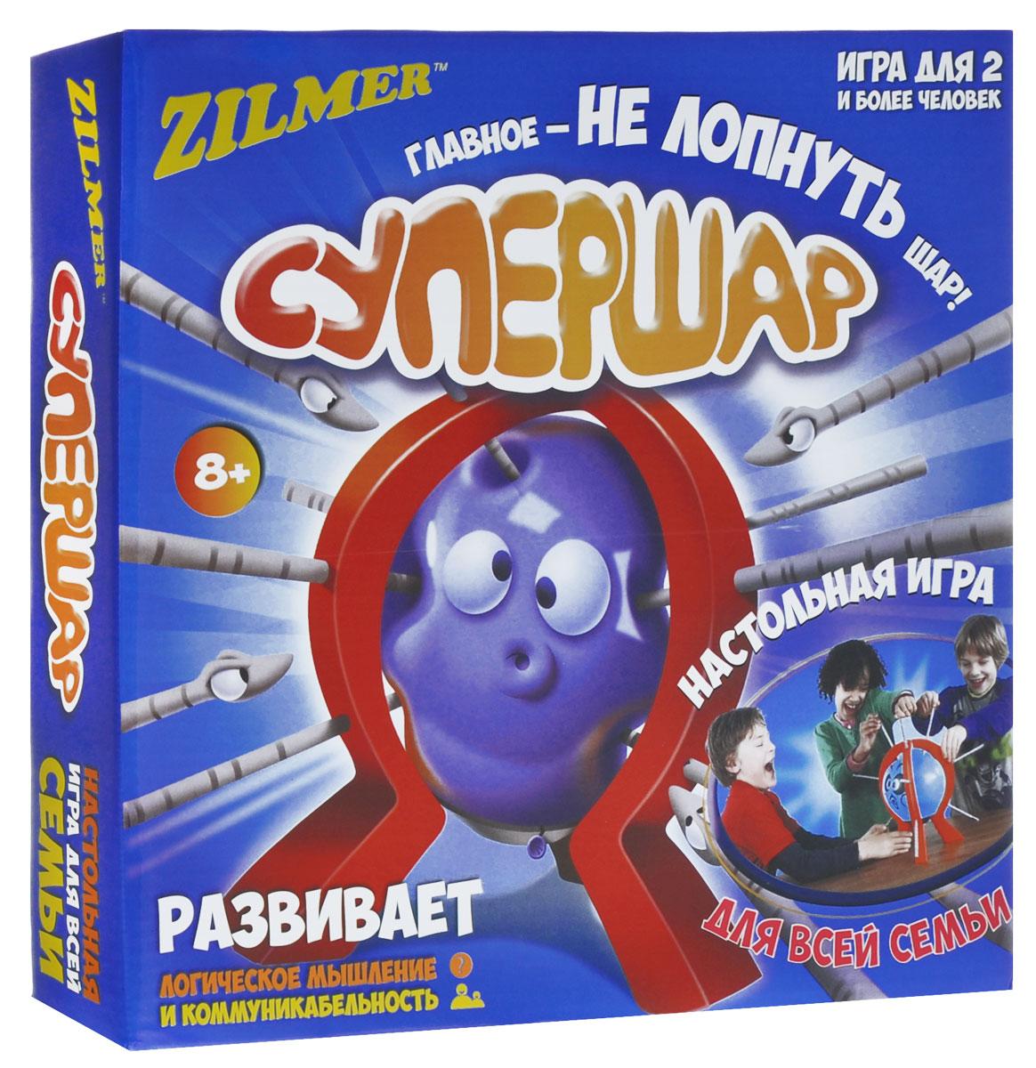 Zilmer Настольная игра СупершарZIL0501-001Супершар - это увлекательная игра, в которой вы должны сделать все возможное, чтобы шар не лопнул. Вставьте палочку до щелчка в отверстия на подножке. Шар начинает менять форму от каждого прикосновения. Главное, чтобы он не лопнул! Игроки по очереди вставляют палочки в надутый шарик, закрепленный на подставке. Проигрывает игрок, у которого шар лопнет. Игра развивает логическое мышление и коммуникабельность. В наборе: игровая рамка для шарика (3 подножки, подставка, крепеж), 10 шариков с нарисованными рожицами, 9 палочек, игральная кость, инструкция.