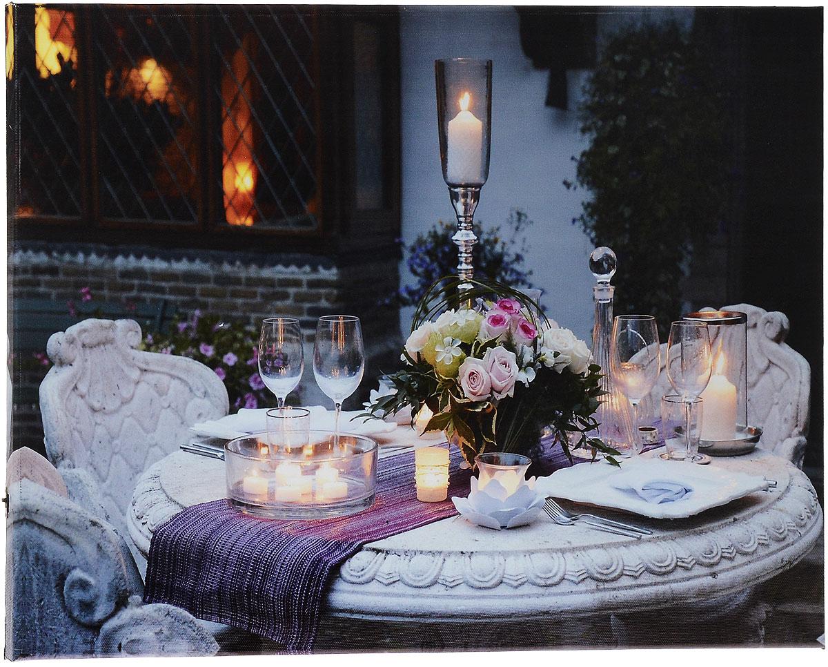 Картина MTH Праздничный стол, со светодиодами, 40 х 60 смled4060-16Картина MTH Праздничный стол выполнена на основе из МДФ, обтянутой холстом. Изделие оснащено светодиодами. Их теплый мерцающий в темноте свет оживит ваш дом и добавит ему уюта. На картине изображен накрытый стол с цветами и свечами. Благодаря светодиодной подсветке создается ощущение, что теплый свет, исходящий от свечей, действительно может согревать. С оборотной стороны картина оснащена специальным отверстием для подвешивания на стену. Необычная картина придаст интерьеру невероятного шарма и оригинальности. Рисунок успокаивает нервную систему, помогая расслабиться и отвлечься от повседневных забот. Подсветка работает от 2 батареек типа АА напряжением 1,5V (в комплект не входят).