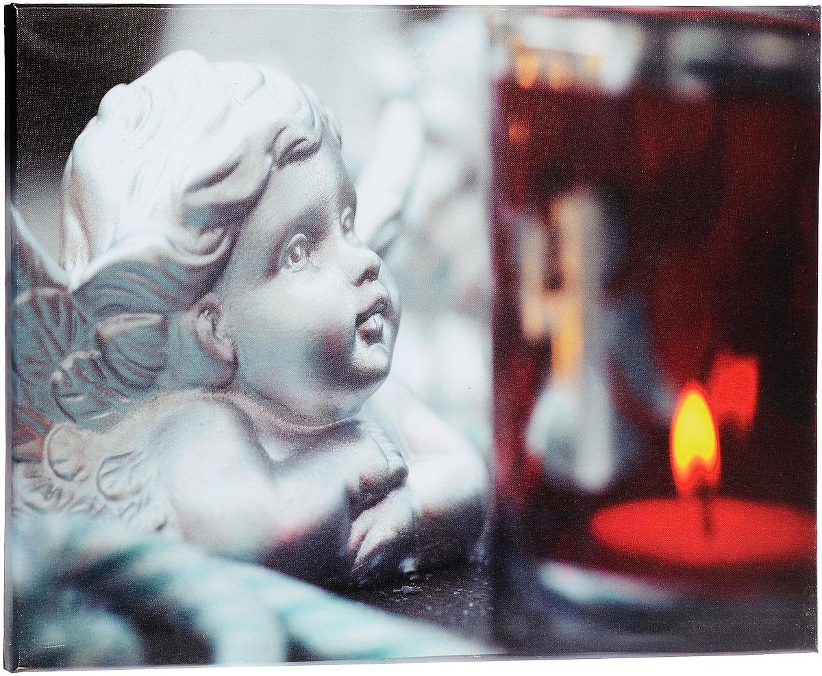 Картина MTH Ангел, со светодиодами, 40 см х 60 смled4060-03Картина MTH Ангел выполнена на основе из МДФ, обтянутой холстом. Изделие оснащено светодиодами. Их теплый мерцающий в темноте свет оживит ваш дом и добавит ему уюта. На картине изображен ангел, смотрящий на свечу. Благодаря светодиодной подсветке создается ощущение, что теплый свет, исходящий от свечи, действительно может согревать. С оборотной стороны картина оснащена специальным отверстием для подвешивания на стену. Необычная картина придаст интерьеру невероятного шарма и оригинальности. Рисунок успокаивает нервную систему, помогая расслабиться и отвлечься от повседневных забот. Подсветка работает от 2 батареек типа АА напряжением 1,5V (в комплект не входят).