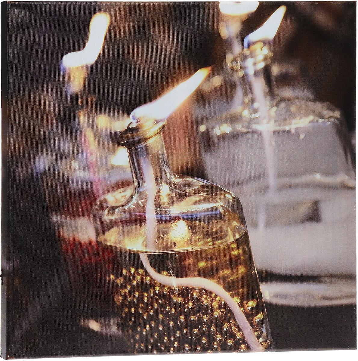 Картина MTH Масляные лампы, со светодиодами, 40 х 50 смled4050-41Картина MTH Масляные лампы выполнена на основе из МДФ, обтянутой холстом. Изделие оснащено светодиодами. Их теплый мерцающий в темноте свет оживит ваш дом и добавит ему уюта. На картине изображена декоративная свеча в сосуде. Благодаря светодиодной подсветке создается ощущение, что теплый свет, исходящий от свечи, действительно может согревать. С оборотной стороны картина оснащена специальным отверстием для подвешивания на стену. Необычная картина придаст интерьеру невероятного шарма и оригинальности. Рисунок успокаивает нервную систему, помогая расслабиться и отвлечься от повседневных забот. Подсветка работает от 2 батареек типа АА напряжением 1,5V (в комплект не входят).