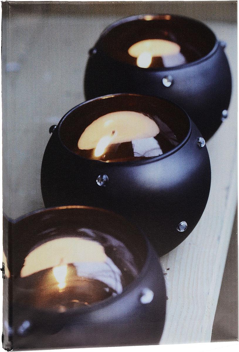 Картина MTH Три свечи, со светодиодами, 30 см х 40 смled3040-02Картина MTH Три свечи выполнена на основе из МДФ, обтянутой холстом. Изделие оснащено светодиодами. Их теплый мерцающий в темноте свет оживит ваш дом и добавит ему уюта. На картине изображены 3 декоративные свечи. Благодаря светодиодной подсветке создается ощущение, что теплый свет, исходящий от свечей, действительно может согревать. С оборотной стороны картина оснащена специальным отверстием для подвешивания на стену. Необычная картина придаст интерьеру невероятного шарма и оригинальности. Рисунок успокаивает нервную систему, помогая расслабиться и отвлечься от повседневных забот. Подсветка работает от 2 батареек типа АА напряжением 1,5V (в комплект не входят).