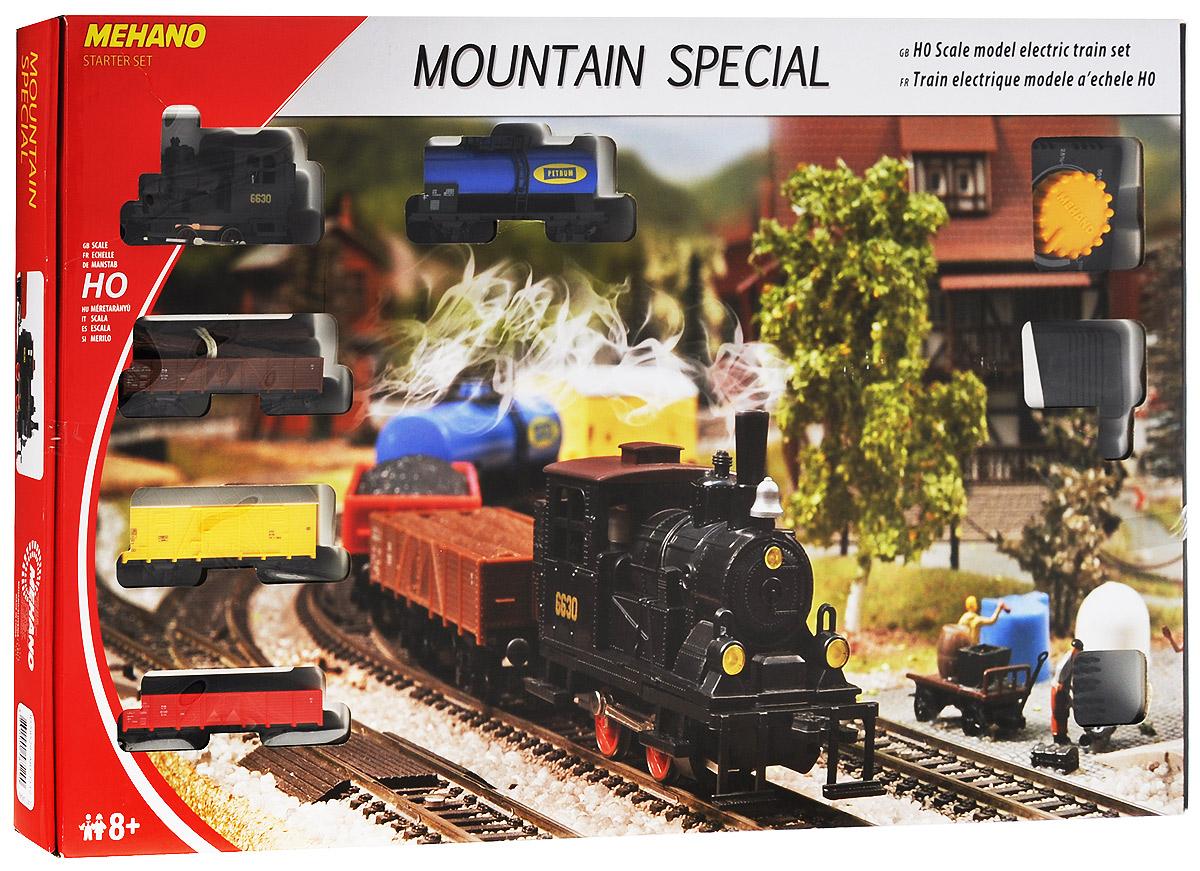 Mehano Железная дорога Mountain Special с элементами ландшафтаT112Железная дорога Mehano Mountain Special - миниатюрная копия грузового состава. Мельчайшие детали паровоза и грузовых вагонов, каждая рельефная линия экстерьера тщательно проработаны, благодаря чему весь экспресс выглядит более чем реально. Такая железная дорогая понравится не только детям, но взрослым коллекционерам. В комплект входит все необходимое для создания собственного железнодорожного трека: паровоз, 4 грузовых вагона различной конфигурации, 2,85 метра железнодорожного полотна (12 радиальных рельс), сетевой адаптер, пульт-контроллер, элементы ландшафта, подробная инструкция по сборке и управлению с иллюстрациями. Во время пути поезд минует пригород с постройками и тоннель. Ландшафт, который интересно будет собирать, готовясь к великому путешествию, воссоздаст реальную картину. Благодаря пульту-контроллеру вы сможете изменять скорость и направление движения состава. Все элементы железной дороги выполнены в масштабе 1:87 и совместимы с другими элементами...