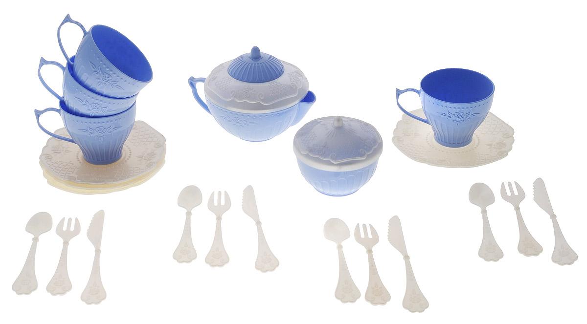 Набор детской посуды Чайный сервиз Волшебная Хозяюшка, 22 предмета, цвет: белый, голубойН-620_белый, голубойНабор детской посуды Чайный сервиз: Волшебная Хозяюшка - отличный подарок для вашей маленькой хозяюшки, которой так хочется быть самостоятельной! Он поможет малышке научиться накрывать на стол к обеду. В комплект набора входит все необходимое для веселого кукольного чаепития: 4 блюдца, 4 чашки, 4 ложки, 4 вилки, 4 ножа, кофейник с крышкой и сахарница с крышкой. Элементы набора выполнены из прочного пластика ярких цветов. Ваша малышка сможет часами играть с этим замечательным набором, выдумывая различные истории и разыгрывая сказочное чаепитие. Такие игры развивают мелкую моторику, социальные навыки и воображение, а также помогут ребенку познакомиться с различными цветами и формами. Порадуйте свою малышку таким замечательным подарком!