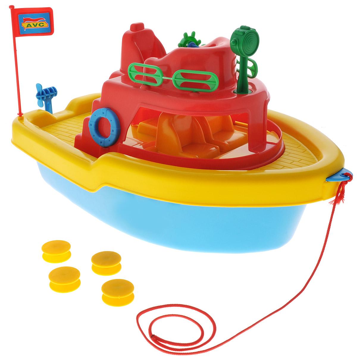 AVC Игрушка Корабль цвет красный желтый синий01/5051_красный, желтый, синийИгрушка AVC Корабль отлично подойдет ребенку для различных игр. Это игрушка предназначена для самых маленьких - в конструкции отсутствуют острые элементы, способные травмировать малыша. В то же время игрушка имеет достаточно большой размер, крупные детали и элементы, с которыми ребёнку удобно и интересно играть. У данной игрушки устроено все, как у настоящего корабля: каюты с сидениями, палубы, штурвал, капитанский мостик, флажок, якорь на длинном шнуре. Можно взяться за веревочку и, словно сказочный гигант, вести судно за собой по океану. Игрушка прекрасно держится на воде. С ней можно играть даже на суше, под днищем модели расположены 4 пластиковых колеса, которые превосходно крутятся. Винт мотора на корме и штурвал вращаются. Корабль сделан из прочного пластика, который безвреден для ребенка. С такой игрушкой юный мореплаватель сможет прекрасно провести время дома или на улице.