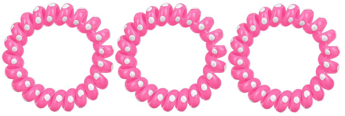 Резинка-браслет для волос Mitya Veselkov, цвет: розовый, 3 шт. REZ2REZ2-ROSЯркие резинки-браслеты Mitya Veselkov выполнены из качественного ПВХ и оформлены узором в горошек. Столь необычная форма резинок дает множество преимуществ. Резинка не оставляет заломов на волосах. При длительном ношении, снимая ее, вы не почувствуете усталость волос. Оригинально смотрится на волосах. Отлично сохраняет свою форму и надежно фиксирует прическу. Не мокнет. Не травмирует волосы. В отличие от обычных резинок, нет трения, зажимов отдельных волосков или прядей. Также их можно использовать как стильные браслеты.