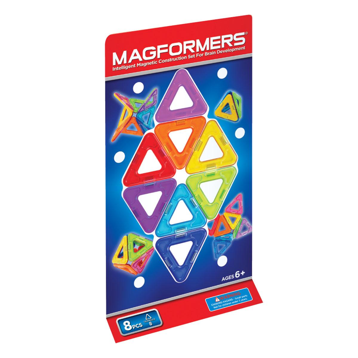 Magformers Магнитный конструктор 701002 Треугольники 8701002Magformers 8 состоит из восьми треугольников. Он познакомит ребенка с простейшими геометрическими фигурами, в том числе и трехмерными, и даст начальное представление о мире магнетизма. Треугольники являются разноцветными, что может помочь родителям в игровой форме обучить ребенка различать цвета. При этом все треугольники не имеют острых углов, мелких деталей, магниты прочно закреплены внутри пластика, поэтому данный набор можно рекомендовать детям от 1 года. Magformers 8 часто покупают как дополнение к уже имеющимся наборам.