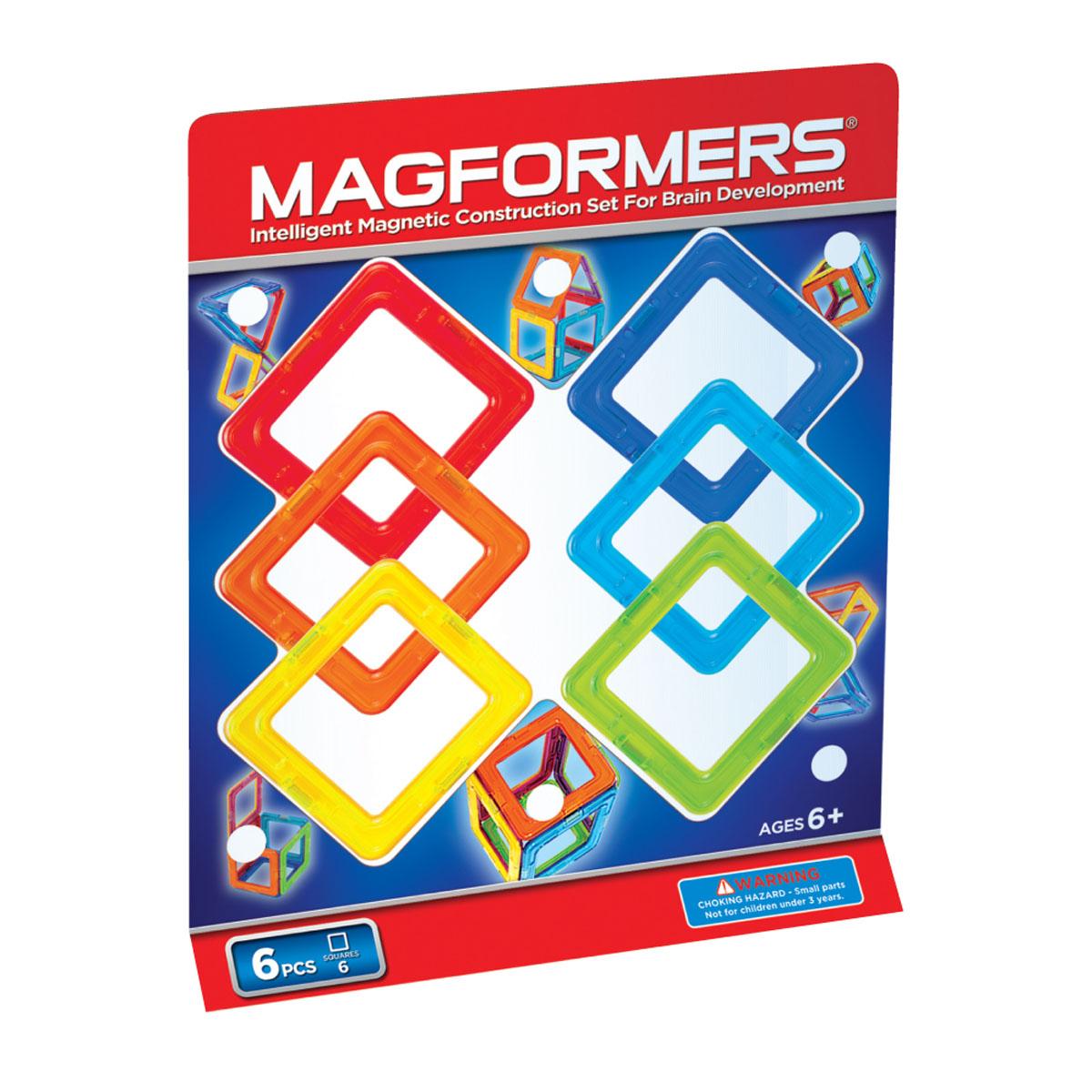 Magformers Магнитный конструктор 63086 Квадраты 663086Magformers 6 самый маленький из наборов. Может дать ребенку первичные представления о конструкторе Magformers, геометрии и магнетизме. Малыш сможет научиться создавать фигуры на плоскости, выстраивать магниты в линию. При помощи квадратов Magformers он сможет выучить в процессе игры базовые цвета, узнает, что такое куб и как его сделать. Подходит как дополнение к уже имеющимся наборам.