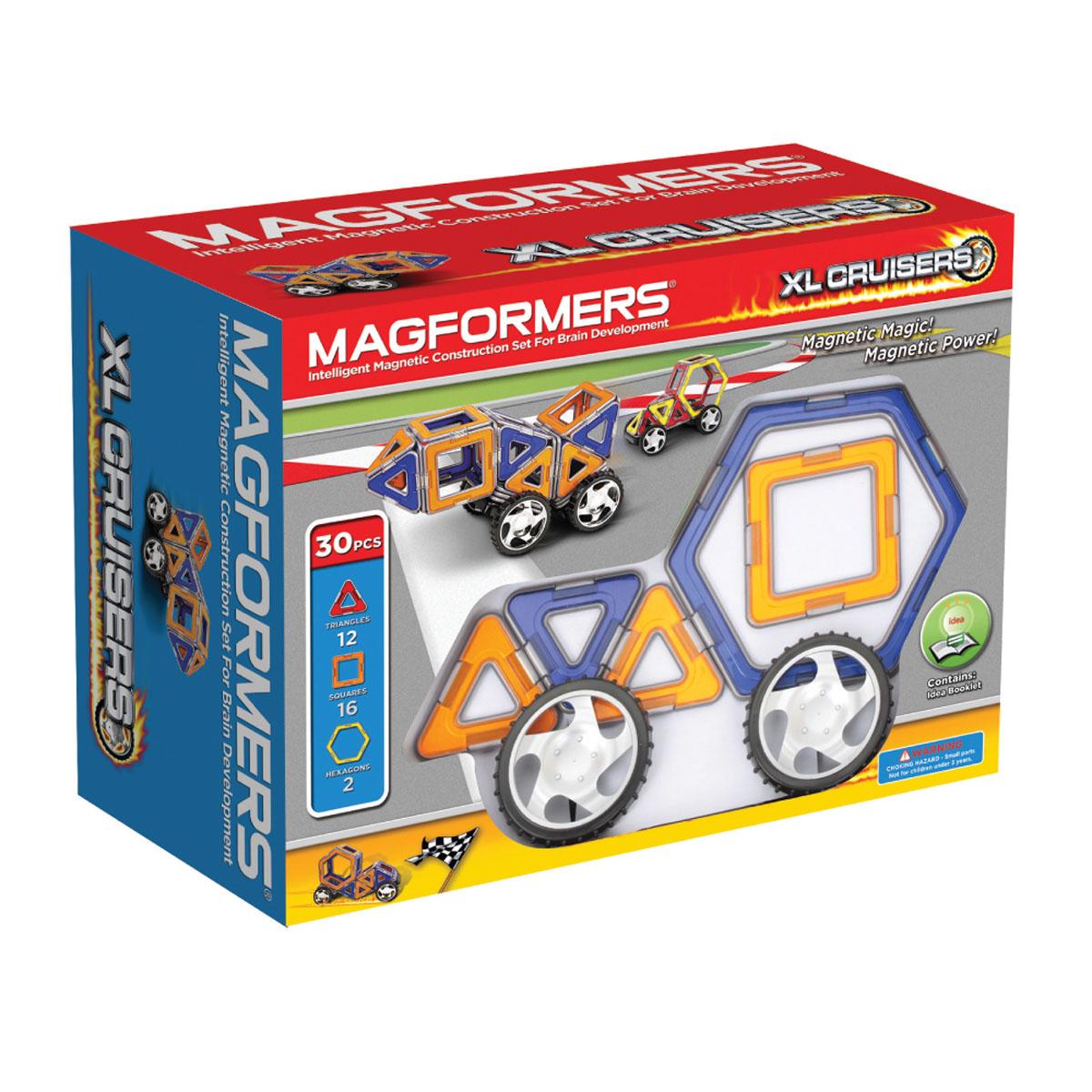 Magformers Магнитный конструктор 63073 Xl cruisers машины цвет синий оранжевый63073Отличный набор, идеально подходит для детей от 2-х лет, увлекающихся моделированием машин. Он позволяет собирать около 18 моделей машин, непосредственно представленных на коробке и в книге идей. Вы сможете создать как самые простые машины, так и действительно креативные и необычные. Самое удивительное, что все созданные вами машины будут ездить!
