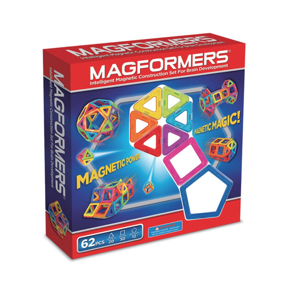 Magformers Магнитный конструктор 63070 6263070Этот набор привлекателен большим количеством деталей. В него входят квадраты, треугольники и пятиугольники. Благодаря этому набору ребенок может делать не только технические постройки, но и животных, более сложные шары, которые начинаются с пятиугольников и при постепенном добавлении квадратов и треугольников превращаются во что-то сказочное и необычное.