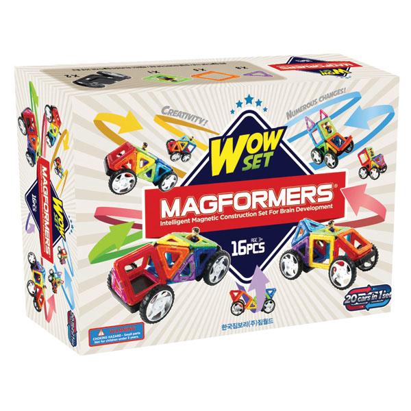 Magformers Магнитный конструктор 63094 Wow set63094Набор для детей от 2-х лет. Отличный набор для начала знакомства с конструкторами Магформерс. Этот набор состоит из 16 деталей, но творит чудеса! Он простой и яркий, как и Магформерс 14, но дополнен колесами, что позволяет собирать около 20 моделей машин.