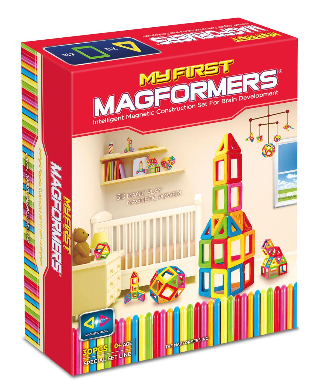 Magformers Магнитный конструктор 63107 My First Magformers 3063107Уникальный в своем роде набор Магформерс в линейке магнитного конструктора. Все дело в том, что в производстве деталей используется особо прочный пластик, устойчивый к механическим повреждениям. Именно этот конструктор получил возрастную категорию 0+ и может быть использован для игры детьми с рождения.В состав данного набора входит также отличное дополнение - специальная книга на пружинах с заданиями для вашего ребенка и набор ярких карточек с изображением построек из деталей магнитного конструктора Магформерс. В книге для вас представлено множество развивающих загадок и заданий, что поможет родителям не только интересно провести с ребенком время за игрой, но также облегчит процесс интеллектуального развития малыша.