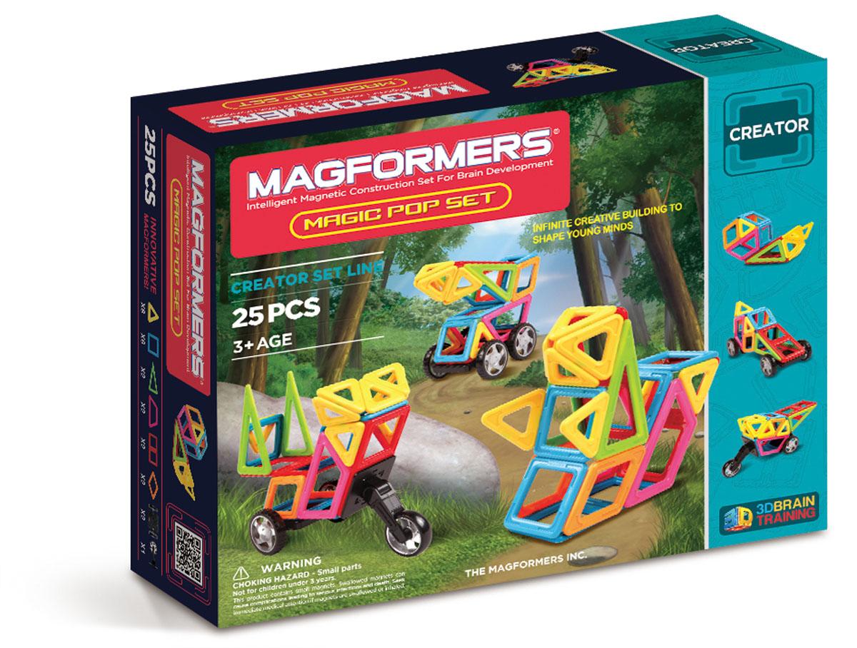 Magformers Магнитный конструктор 63130 Magic Pop63130Набор содержит 22 магнитных элемента 6 различных геометрических форм ярких цветов, самый популярный аксессуар колеса и новый дополнительный элемент колесо мотоцикла.Набор Magformers Magic Pop Set содержит 25 элементов:треугольник 8 шт, равнобедренный треугольник 2 шт, квадрат 6 шт, прямоугольник 2 шт, ромб 2 шт, трапеция 2 шт, пара колес 2 шт, мотоциклетное колесо 1 шт.