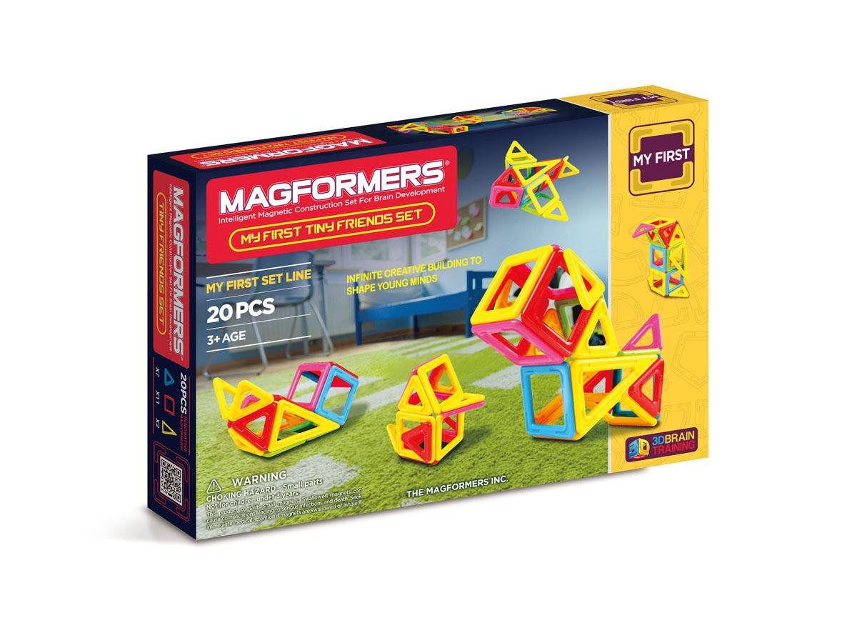 Magformers Магнитный конструктор 63143 Tiny Friends63143Набор Magformers My First Tiny Friends Set содержит 7 треугольников, 11 квадратов и 2 равнобедренных треугольника ярких основных цветов. Данная книга идей расскажет Вам как собрать 12 различных Маленьких Друзей из мира природы, используя эти сильные и надежные магнитные элементы.