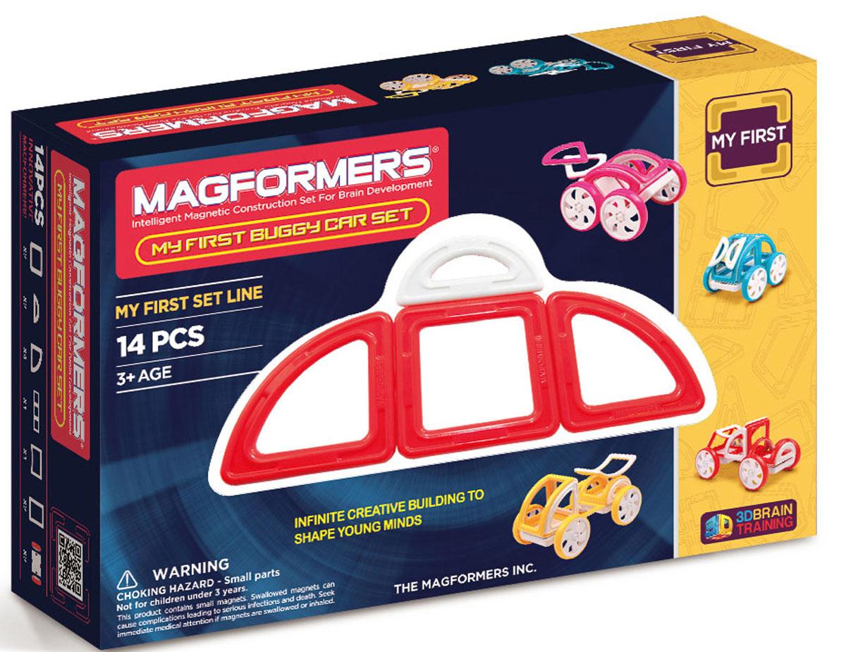 Magformers Магнитный конструктор 63145 My First Buggy, красный63145Набор My First Buggy Car Set из серии Мой Первый Магформерс отлично подойдет для начала знакомства с развивающим конструктором! Он включает в себя великолепно иллюстрированные карточки, которые познакомят Вас с принципами конструирования из Магформерс и покажут, как собрать разнообразные машинки Багги - для передвижения по песчаным прибрежным дюнам, для гонок по бездорожью или по пересеченной местности. Детали выполнены в ярких тонах: желтый, голубой, красный и розовый с одной стороны и белый цвет с другой стороны.Необычные приключения ждут с новым набором Magformers My First Buggy Car Set