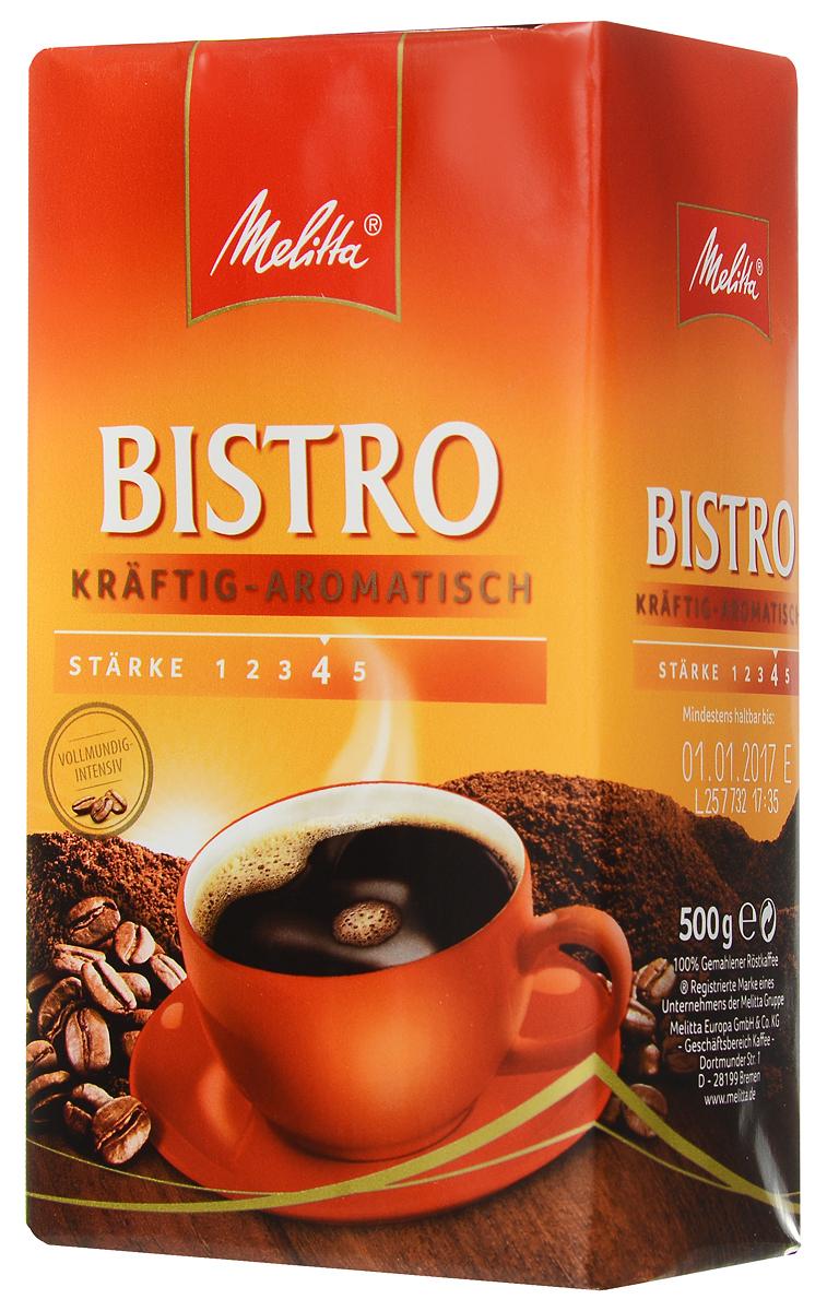 Melitta Bistro Kraftig-Aromatisch молотый кофе, 500 г13429Melitta Bistro Kraftig-Aromatisch - крепкий кофе с интенсивным ароматом и насыщенным вкусом. Напиток идеально сочетается с салями и острыми сырами. Предназначен для приготовления кофе в кофеварках и турках.