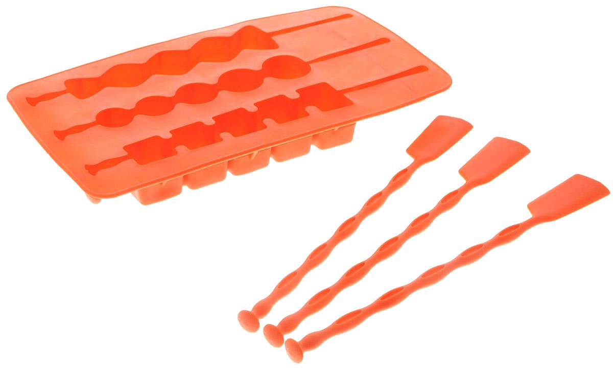 Форма для льда Fackelmann, на палочке, цвет: оранжевый, 3 ячейки49392_оранжевыйФорма Fackelmann выполнена из силикона и предназначена для приготовления льда на палочке. В комплект входят палочки для льда. Теперь на смену традиционным квадратным пришли новые оригинальные формы для приготовления фигурного льда, которыми можно не только охладить, но и украсить любой напиток. В формочки при заморозке воды можно помещать ягодки, такие льдинки не только оживят коктейль, но и добавят радостного настроения гостям на празднике! Можно мыть в посудомоечной машине. Размер формы: 20 х 11 х 2 см. Средний размер ячейки: 18,5 х 2,5 х 2 см. Количество ячеек: 3 шт. Количество палочек: 3 шт.