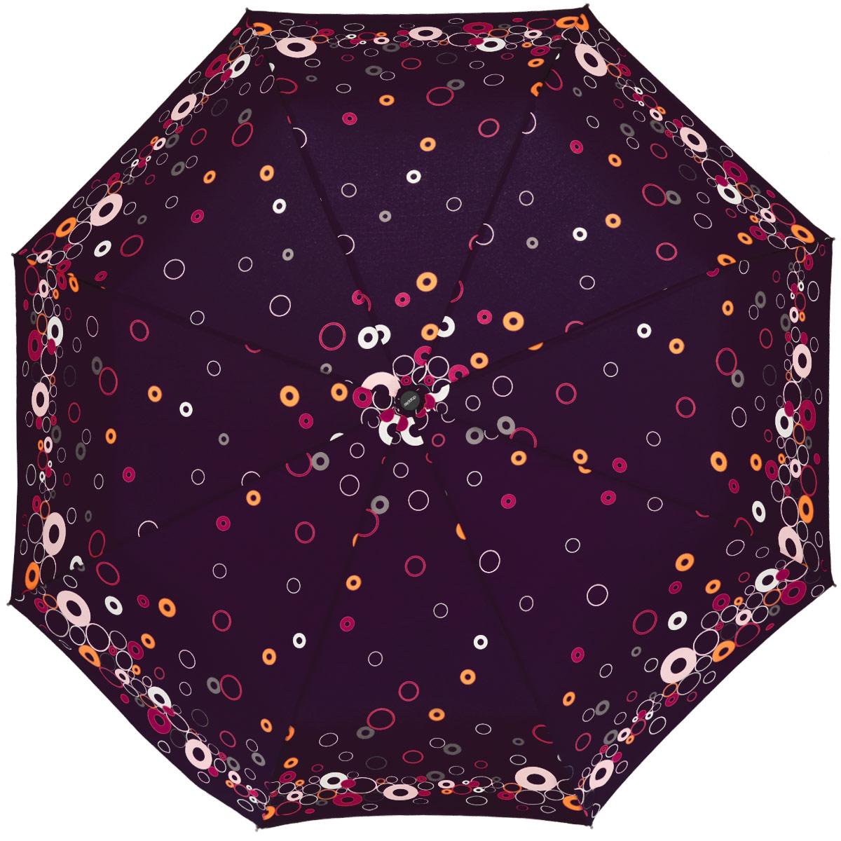 Зонт женский Doppler Party Rings, автомат, 3 сложения, цвет: фиолетовый. 7441465PR7441465PR_violetЖенский автоматический зонт Doppler Party Rings в три сложения изготовлен из полиэстера, стали и пластика. Изделие оформлено ярким абстрактным принтом. Зонт имеет полностью автоматический механизм сложения: купол открывается и закрывается нажатием кнопки на рукоятке, стержень складывается вручную до характерного щелчка, благодаря чему открыть и закрыть зонт можно одной рукой, что чрезвычайно удобно при входе в транспорт или помещение. Каркас зонта снабжен системой Антиветер и состоит из восьми надежных стальных спиц. Купол изделия выполнен из прочного полиэстера. Рукоятка, разработанная с учетом требований эргономики, выполнена из приятного на ощупь пластика. На рукоятке для удобства есть небольшой шнурок, позволяющий надеть зонт на руку тогда, когда это будет необходимо. К зонту прилагается чехол. Такой зонт не только надежно защитит вас от дождя, но и станет стильным аксессуаром, который идеально подчеркнет ваш неповторимый образ.