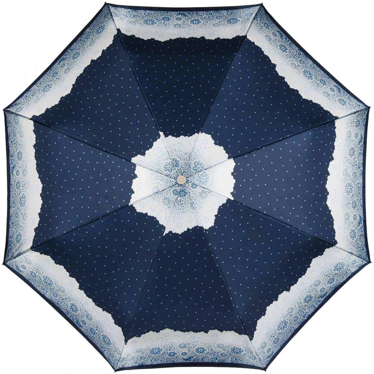 Зонт женский Doppler Apart, автомат, 3 сложения, цвет: темно-синий, светло-серый. 74660FGAP74660FGAP_blueЖенский автоматический зонт Doppler Apart в три сложения изготовлен из искусственного шелка, карбона и пластика. Изделие оформлено ярким принтом с изображением узоров. Зонт имеет полностью автоматический механизм сложения: купол открывается и закрывается нажатием кнопки на рукоятке, стержень складывается вручную до характерного щелчка, благодаря чему открыть и закрыть зонт можно одной рукой, что чрезвычайно удобно при входе в транспорт или помещение. Каркас зонта снабжен системой Двойной антиветер и состоит из восьми надежных спиц. Купол изделия выполнен из прочного искусственного шелка. Рукоятка, разработанная с учетом требований эргономики, выполнена из приятного на ощупь пластика. На рукоятке для удобства есть небольшой шнурок, позволяющий надеть зонт на руку тогда, когда это будет необходимо. К зонту прилагается чехол, который оформлен символикой бренда. Такой зонт не только надежно защитит вас от дождя, но и станет стильным аксессуаром, который идеально подчеркнет...