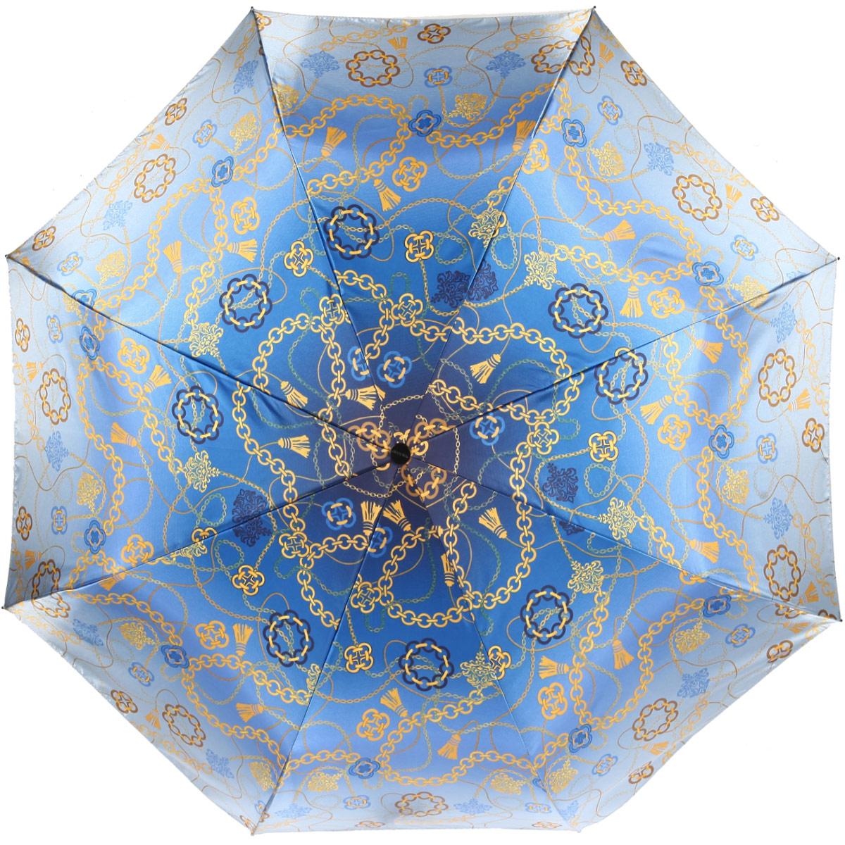 Зонт женский Doppler Carbon Chain, автомат, 3 сложения, цвет: синий, золотой. 74660FGC74660FGC_blueЖенский автоматический зонт Doppler Carbon Chain в три сложения изготовлен из искусственного шелка, карбона и пластика. Изделие оформлено ярким абстрактным принтом. Зонт имеет полностью автоматический механизм сложения: купол открывается и закрывается нажатием кнопки на рукоятке, стержень складывается вручную до характерного щелчка, благодаря чему открыть и закрыть зонт можно одной рукой, что чрезвычайно удобно при входе в транспорт или помещение. Каркас зонта снабжен системой Двойной антиветер и состоит из восьми надежных спиц. Купол изделия выполнен из прочного искусственного шелка. Рукоятка, разработанная с учетом требований эргономики, выполнена из приятного на ощупь пластика. На рукоятке для удобства есть небольшой шнурок, позволяющий надеть зонт на руку тогда, когда это будет необходимо. К зонту прилагается чехол, который оформлен символикой бренда. Такой зонт не только надежно защитит вас от дождя, но и станет стильным аксессуаром, который идеально подчеркнет...