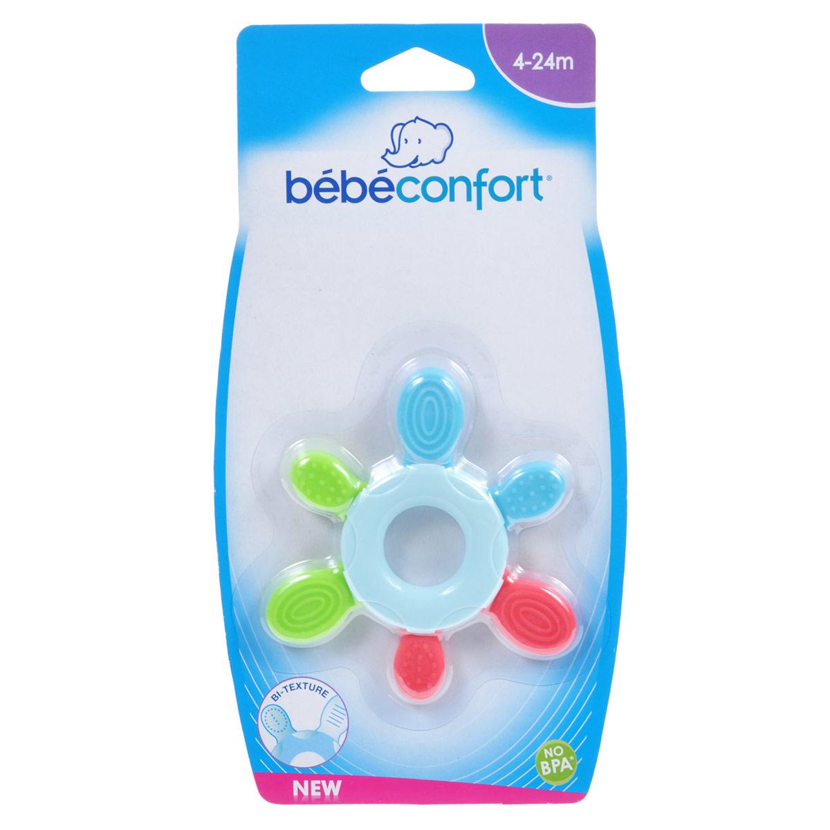 Прорезыватель Bebe Confort, от 4-24 мес3220660212781Яркий прорезыватель Bebe Confort подойдет детям, начиная с 4-х месячного возраста, поможет облегчить дискомфорт и преодолеть болевые ощущения в период прорезывания первых зубок. Выступающие детали массажируют воспаленные десна.
