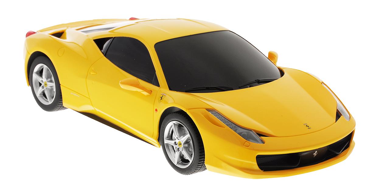 Rastar Радиоуправляемая модель Ferrari 458 Italia цвет желтый масштаб 1:1853400-8_желтыйРадиоуправляемая модель Rastar Ferrari 458 Italia станет отличным подарком любому мальчику! Все дети хотят иметь в наборе своих игрушек ослепительные, невероятные и модные автомобили на радиоуправлении. Тем более, если это автомобиль известной марки с проработкой всех деталей, удивляющий приятным качеством и видом. Одной из таких моделей является автомобиль на радиоуправлении Rastar Ferrari 458 Italia. Это точная копия настоящего авто в масштабе 1:18. Авто обладает неповторимым провокационным стилем и спортивным характером. Потрясающая маневренность, динамика и покладистость - отличительные качества этой модели. Возможные движения: вперед, назад, вправо, влево, остановка. При движении загораются фары и стоп-сигналы. Пульт управления выполнен в виде полнофункционального руля с переключателем передач, кнопками акселератора, тормоза, клаксона. При повороте руля возникает звуковой эффект ритмичного тиканья, и машина поворачивает. При нажатии на клаксон раздается звуковой...