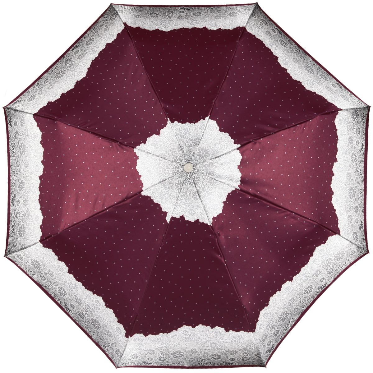 Зонт женский Doppler Apart, автомат, 3 сложения, цвет: бордовый, светло-серый. 74660FGAP74660FGAP_bordoЖенский автоматический зонт Doppler Apart в три сложения изготовлен из искусственного шелка, карбона и пластика. Изделие оформлено ярким принтом с изображением узоров. Зонт имеет полностью автоматический механизм сложения: купол открывается и закрывается нажатием кнопки на рукоятке, стержень складывается вручную до характерного щелчка, благодаря чему открыть и закрыть зонт можно одной рукой, что чрезвычайно удобно при входе в транспорт или помещение. Каркас зонта снабжен системой Двойной антиветер и состоит из восьми надежных спиц. Купол изделия выполнен из прочного искусственного шелка. Рукоятка, разработанная с учетом требований эргономики, выполнена из приятного на ощупь пластика. На рукоятке для удобства есть небольшой шнурок, позволяющий надеть зонт на руку тогда, когда это будет необходимо. К зонту прилагается чехол, который оформлен символикой бренда. Такой зонт не только надежно защитит вас от дождя, но и станет стильным аксессуаром, который идеально подчеркнет...