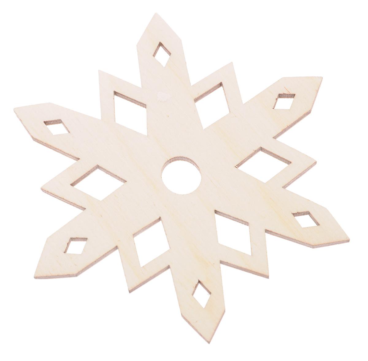 Деревянная заготовка Астра Снежинка, диаметр 10 см685975Заготовка Астра Снежинка изготовлена из дерева. Изделие, выполненное в виде снежинки, станет хорошим объектом для вашего творчества и занятий декупажем. После того как вы украсите изделие, подвяжите к нему текстильную петельку и у вас получится оригинальное подвесное украшение. Заготовка, раскрашенная красками, будет прекрасным украшением интерьера или отличным подарком. Текстильная петелька в комплект не входит.