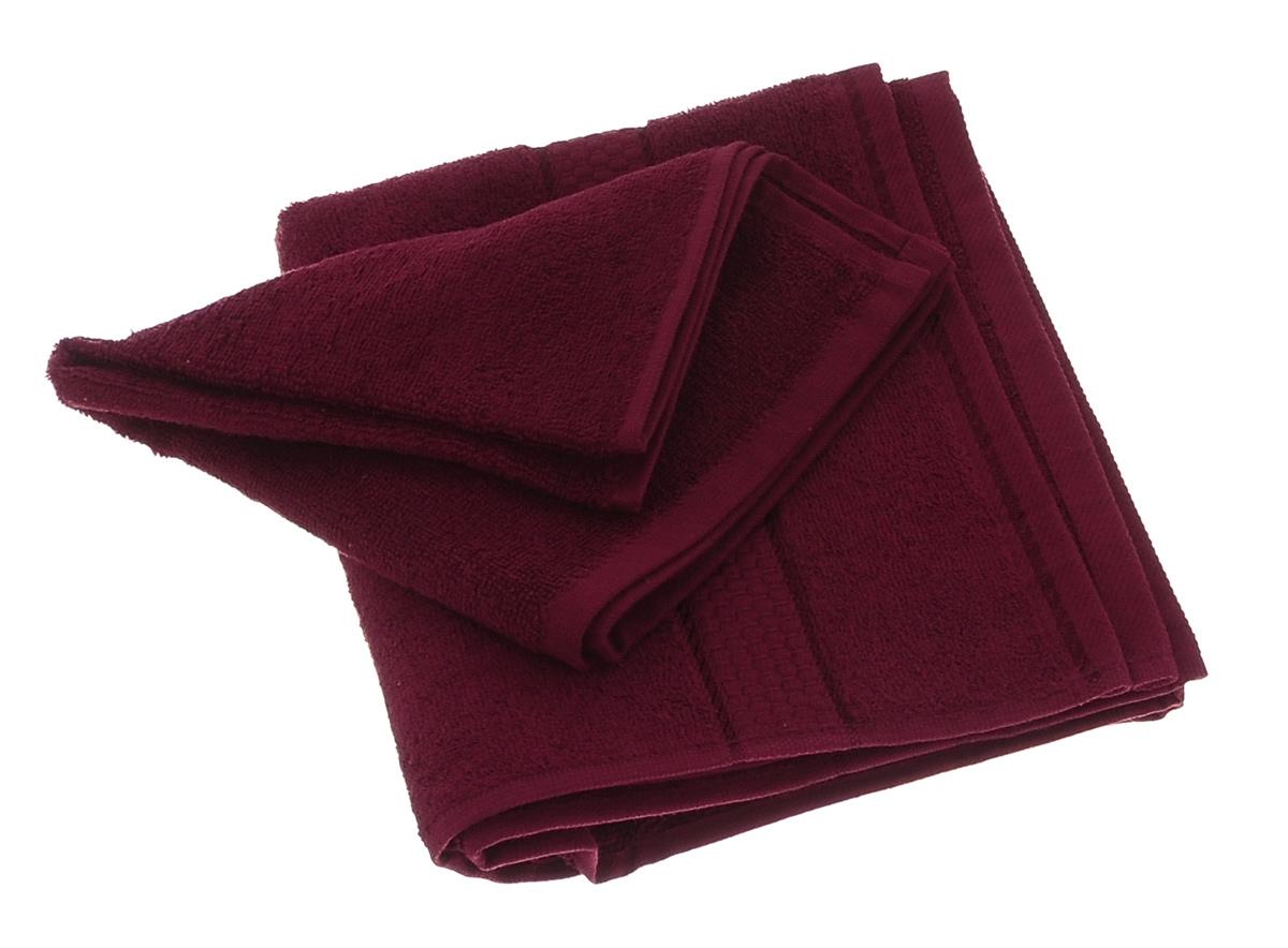 Набор махровых полотенец Aisha Home Textile, цвет: бордовый, 2 штУзТ-КМП-09-18Набор Aisha Home Textile состоит из двух махровых полотенец разного размера, выполненных из натурального 100% хлопка. Изделия отлично впитывают влагу, быстро сохнут, сохраняют яркость цвета и не теряют формы даже после многократных стирок. Полотенца очень практичны и неприхотливы в уходе. Комплектация: 2 шт.