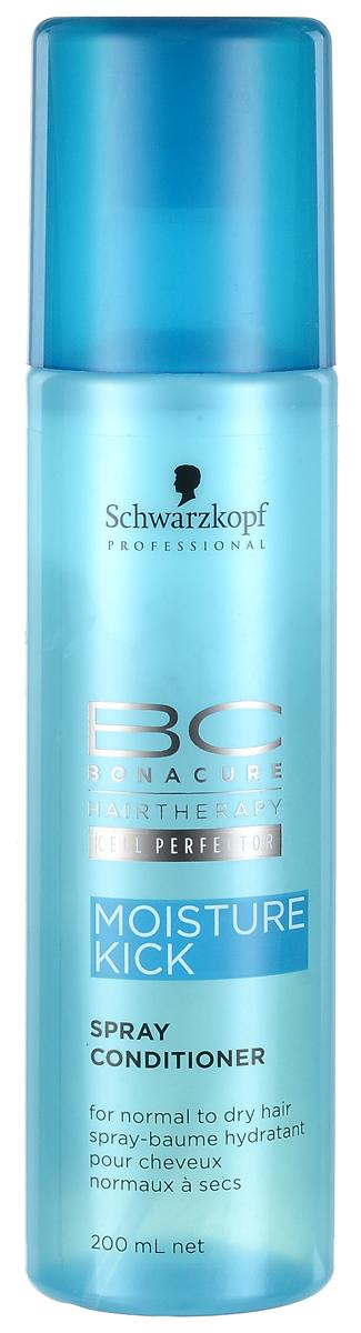 Bonacure Кондиционер-спрей Интенсивное Увлажнение Moisture Kick Spray-Conditioner 200 мл1800424Мгновенно увлажняющий легкий двухфазный спрей кондиционер для нормальных, сухих, ломких или вьющихся волос. Во время встряхивания флакона кремовая и водная фазы смешиваются, образуя легкую эмульсию, которая наносится на волосы тонким слоем, увлажняет и не перегружает. Распутывает волосы и улучшает расчесывание, разглаживает поверхность и придает здоровый блеск. Рекомендуется использовать в комплексе с шампунем BC Moisture Kick.