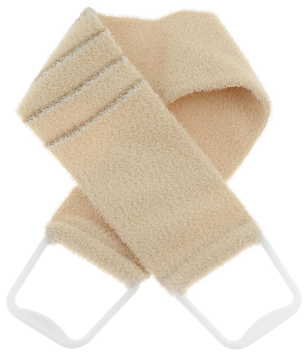 Riffi Мочалка-пояс, массажная, жесткая, цвет: бежевый. 824824_бежевыйМочалка-пояс Riffi используется для мытья тела, обладает активным пилинговым действием, тонизируя, массируя и эффективно очищая вашу кожу. Хлопковая основа придает мочалке высокие моющие свойства, а примесь жестких синтетических волокон усиливает ее массажное воздействие на кожу. Для удобства применения пояс снабжен двумя пластиковыми ручками. Благодаря отшелушивающему эффекту мочалки-пояса, кожа освобождается от отмерших клеток, становится гладкой, упругой и свежей. Массаж тела с применением Riffi стимулирует кровообращение, активирует кровоснабжение, способствует обмену веществ, что в свою очередь позволяет себя чувствовать бодрым и отдохнувшим после принятия душа или ванны. Riffi регенерирует кожу, делает ее приятно нежной, мягкой и лучше готовой к принятию косметических средств. Приносит приятное расслабление всему организму. Борется со спазмами и болями в мышцах, предупреждает образование целлюлита и обеспечивает омолаживающий эффект. Моет легко и энергично. Быстро...