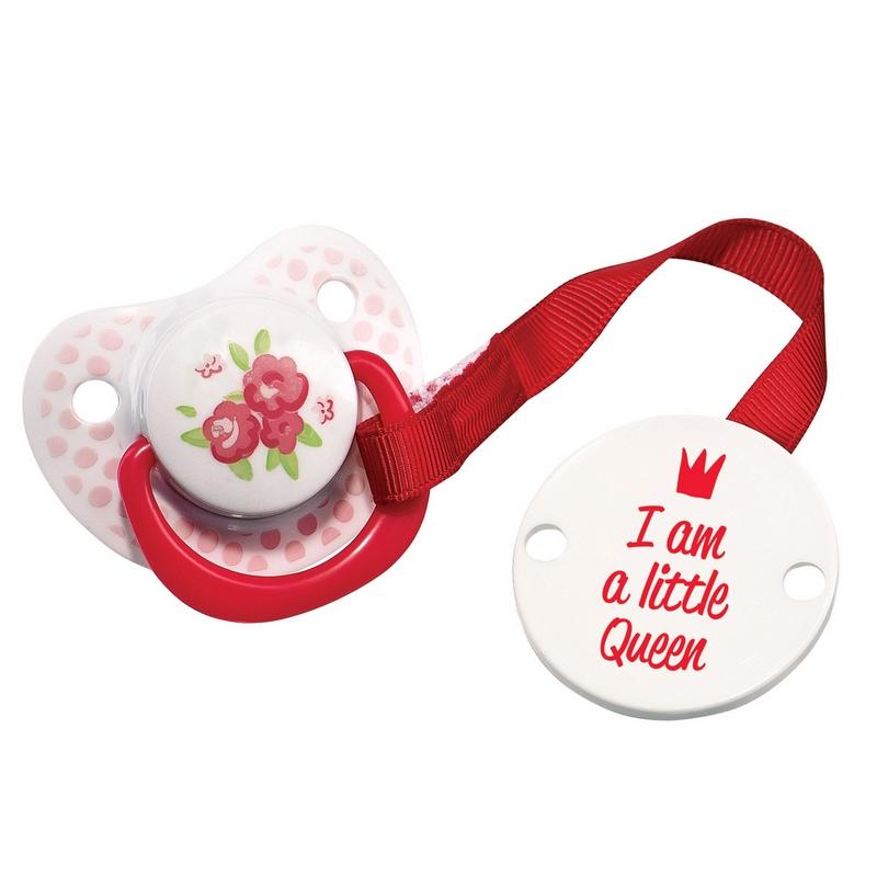 Пустышка силиконовая Happy Baby Little Queen, с холдером, от 0 месяцев13005_красный