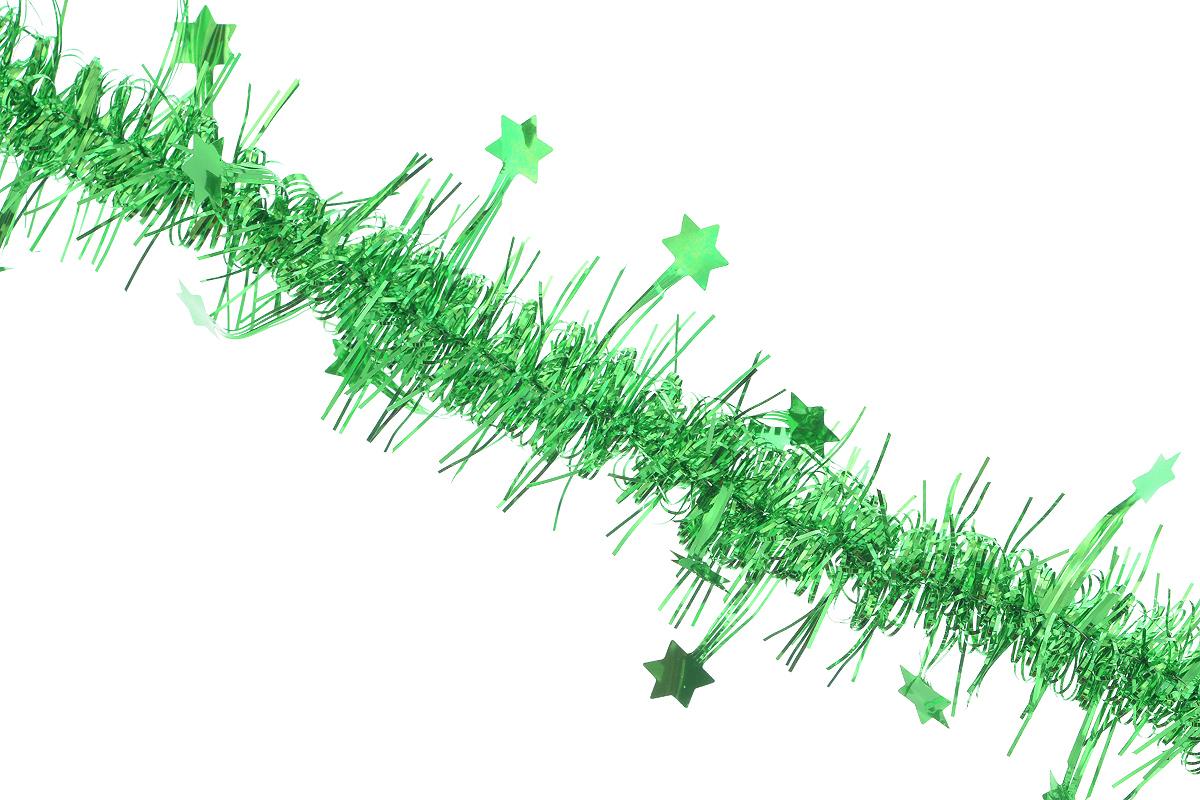 Мишура новогодняя Sima-land, цвет: зеленый, диаметр 5 см, длина 200 см. 702628702628_зеленыйНовогодняя мишура Sima-land, выполненная из фольги с дизайном в виде звездочек, поможет вам украсить свой дом к предстоящим праздникам. А новогодняя елка с таким украшением станет еще наряднее. Мишура армирована, то есть имеет проволоку внутри и способна сохранять приданную ей форму. Новогодней мишурой можно украсить все, что угодно - елку, квартиру, дачу, офис - как внутри, так и снаружи. Можно сложить новогодние поздравления, буквы и цифры, мишурой можно украсить и дополнить гирлянды, можно выделить дверные колонны, оплести дверные проемы. Коллекция декоративных украшений из серии Зимнее волшебство принесет в ваш дом ни с чем несравнимое ощущение праздника! Создайте в своем доме атмосферу тепла, веселья и радости, украшая его всей семьей.
