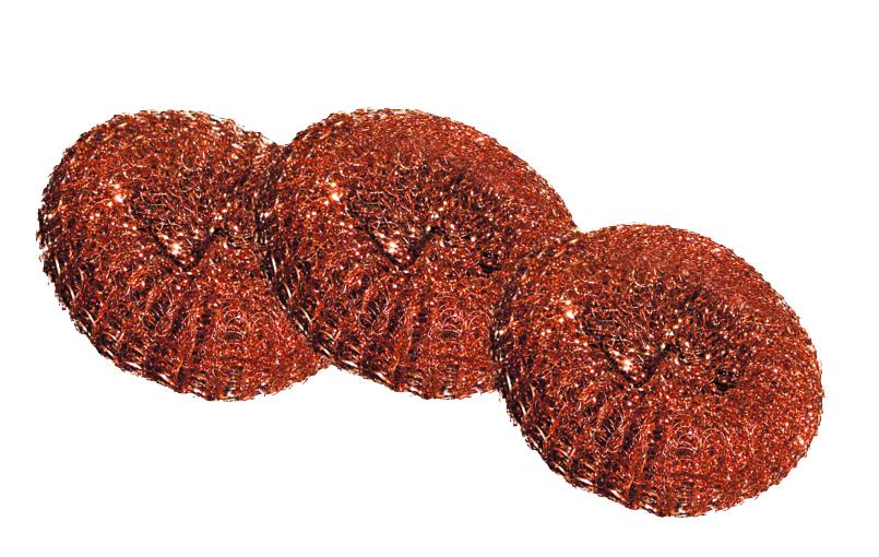 Губка для посуды York, медная, 3 шт0401Губки York изготовлены из стали с медным покрытием и предназначены для очистки металлической посуды и рабочих поверхностей от стойких загрязнений. Не рекомендуется использовать на деликатных поверхностях. Изделия не ржавеют, не колют руки, хорошо промываются под струей воды. В наборе - 3 губки. Размер губки: 7 см х 7 см х 2.5 см. Комплектация: 3 шт.