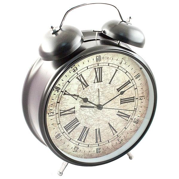 Часы-будильник Эврика Гигант, цвет: черный96597Оригинальные часы-будильник Эврика Гигант органично впишутся в интерьер комнаты. Корпус часов выполнен из окрашенного металла, циферблат защищен стеклом и украшен изображением старинной карты. Задняя панель закрыта пластиком черного цвета. Часы-будильник на двух устойчивых ножках, на задней панели имеется поворотный рычажок для выставления времени и поворотный рычажок для того, чтобы завести будильник на нужное время. Также на задней стороне будильника имеется специальное отверстие, для подвешивания его на стене. Часы-будильник оснащены 4 стрелками: часовой, минутной, секундной и стрелкой будильника. Механизм хода - обычный, тикающий. Будьте абсолютно уверены в том, что с таким будильником вам точно не удастся снова уснуть! Теперь вы сможете просыпаться утром под звуки стильного классического будильника Гигант. Будильник работает от трех пальчиковых батареек типа АА. Диаметр циферблата 21 см.