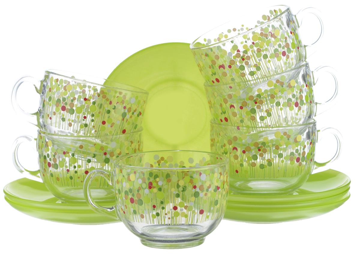 Набор чайный Luminarc Flowerfield, 12 предметов. H2496H2496Чайный набор Luminarc Flowerfield состоит из 6 чашек и 6 блюдец. Изделия, выполненные из высококачественного ударопрочного стекла, имеют элегантный дизайн и классическую круглую форму. Посуда отличается прочностью, гигиеничностью и долгим сроком службы, она устойчива к появлению царапин и резким перепадам температур. Такой набор прекрасно подойдет как для повседневного использования, так и для праздников. Чайный набор Luminarc Flowerfield - это не только яркий и полезный подарок для родных и близких, это также великолепное дизайнерское решение для вашей кухни или столовой. Изделия можно мыть в посудомоечной машине и использовать в СВЧ-печи. Объем чашки: 220 мл. Диаметр чашки (по верхнему краю): 8,2 см. Высота чашки: 6 см. Диаметр блюдца (по верхнему краю): 14 см. Высота блюдца: 1,7 см.
