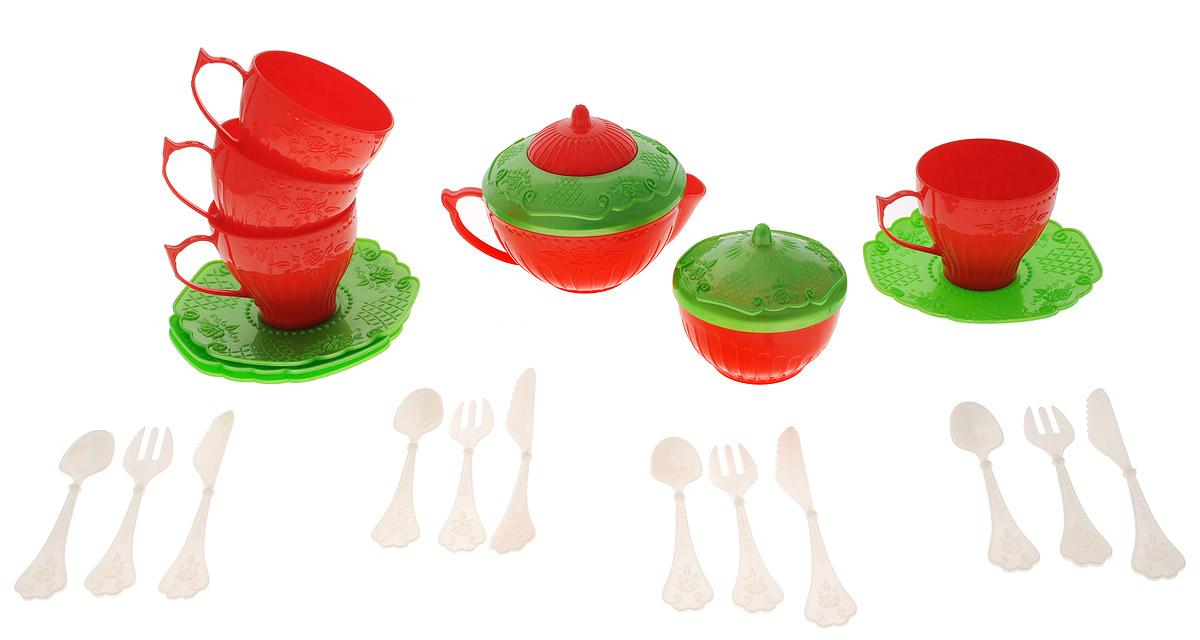 Набор детской посуды Чайный сервиз Волшебная Хозяюшка, 22 предмета, цвет: красный, салатовыйН-620_красный, салатовыйНабор детской посуды Чайный сервиз: Волшебная Хозяюшка - отличный подарок для вашей маленькой хозяюшки, которой так хочется быть самостоятельной! Он поможет малышке научиться накрывать на стол к обеду. В комплект набора входит все необходимое для веселого кукольного чаепития: 4 блюдца, 4 чашки, 4 ложки, 4 вилки, 4 ножа, кофейник с крышкой и сахарница с крышкой. Элементы набора выполнены из прочного пластика ярких цветов. Ваша малышка сможет часами играть с этим замечательным набором, выдумывая различные истории и разыгрывая сказочное чаепитие. Такие игры развивают мелкую моторику, социальные навыки и воображение, а также помогут ребенку познакомиться с различными цветами и формами. Порадуйте свою малышку таким замечательным подарком!