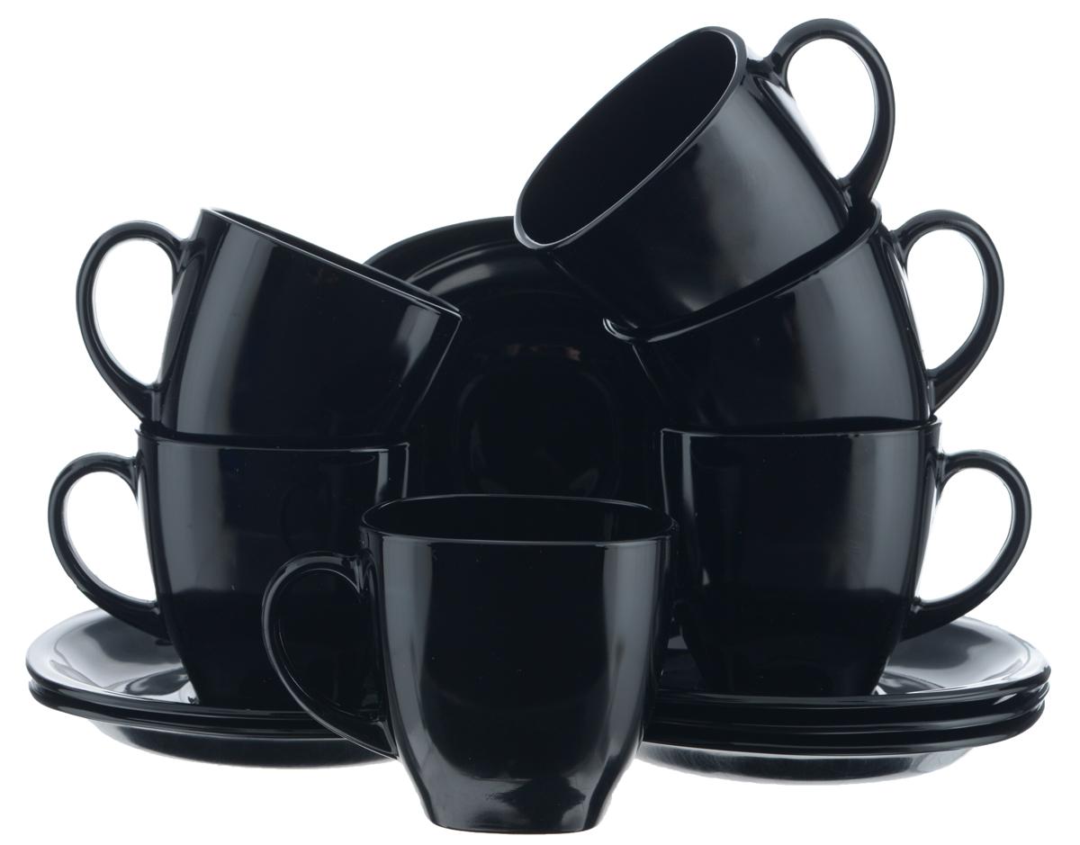 Набор чайный Luminarc Yalta Black, цвет: черный, 12 предметовH5852Чайный набор Luminarc Yalta Black состоит из 6 чашек и 6 блюдец. Изделия, выполненные из высококачественного ударопрочного стекла, имеют элегантный дизайн и квадратную форму. Посуда отличается прочностью, гигиеничностью и долгим сроком службы, она устойчива к появлению царапин и резким перепадам температур. Такой набор прекрасно подойдет как для повседневного использования, так и для праздников. Чайный набор Luminarc Yalta Black - это не только яркий и полезный подарок для родных и близких, это также великолепное дизайнерское решение для вашей кухни или столовой. Изделия можно мыть в посудомоечной машине и использовать в СВЧ-печи. Объем чашки: 220 мл. Размер чашки (по верхнему краю): 7,5 см х 7,5 см. Высота чашки: 7,2 см. Размер блюдца (по верхнему краю): 13,5 см х 13,5. Высота блюдца: 1,7 см.