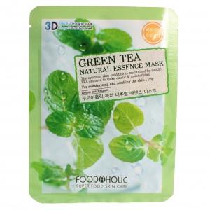 FoodaHolic Тканевая 3D маска с натуральным экстрактом зелёного чая Mash Sheet, 23 мл620610Тканевая 3D маска с натуральным экстрактом зелёного чая, 23гр Маска на тканевой основе обогащена пропиткой с эссенцией, отличающейся большим содержанием активных ингредиентов и обогащена экстрактом зеленого чая. Прекрасно увлажняет эпидермис. Кожа обновляется и выглядит отдохнувшей и сияющей.