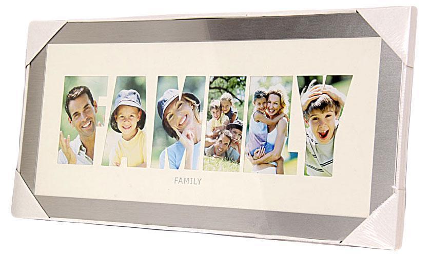 Фоторамка РАТА Family, цвет: серебристый, на 6 фотоHB98511M-12Фоторамка РАТА отлично дополнит интерьер помещения и поможет сохранить на память ваши любимые фотографии. Фоторамка представляет собой коллаж на 6 фотографий в виде надписи FAMILY. Такая рамка позволит сохранить на память изображения дорогих вам людей и интересных событий вашей жизни, а также станет приятным подарком для каждого. Размер фото: 8 х 13,5 см.