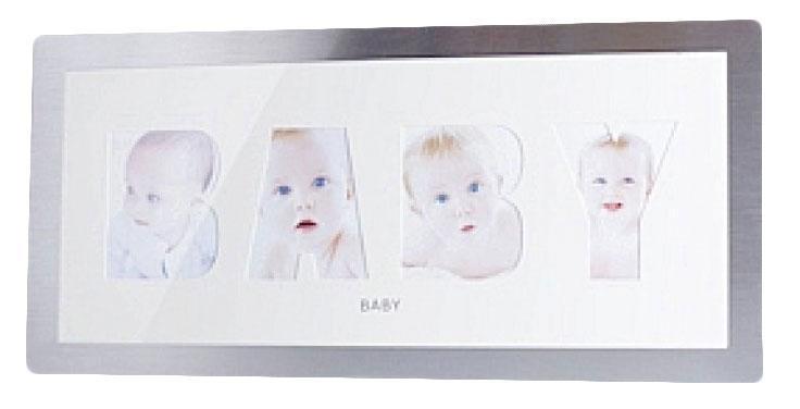 Фоторамка РАТА Baby, цвет: серебристый, на 4 фотоHB98511M-20Фоторамка РАТА Friends отлично дополнит интерьер помещения и поможет сохранить на память ваши любимые фотографии. Фоторамка представляет собой коллаж на 4 фотографии в виде надписи BABY. Такая рамка позволит сохранить на память изображения дорогих вам людей и интересных событий вашей жизни, а также станет приятным подарком для каждого.
