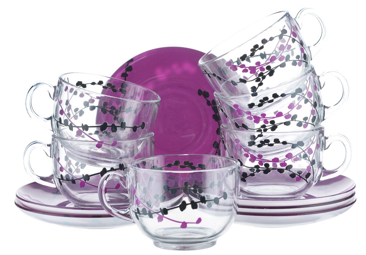 Набор чайный Luminarc Kashima, цвет: прозрачный, фуксия, 12 предметовH0060Чайный набор Luminarc Kashima состоит из шести чашек и шести блюдец. Предметы набора изготовлены из высококачественного стекла и оформлены яркими изображениями. Узоры нарисованы при помощи органических красителей. Чайный набор яркого и в тоже время лаконичного дизайна украсит интерьер кухни и сделает ежедневное чаепитие настоящим праздником. Объем чашек: 220 мл. Диаметр чашек по верхнему краю: 8,5 см. Высота чашек: 6,5 см. Диаметр блюдец: 13,5 см.
