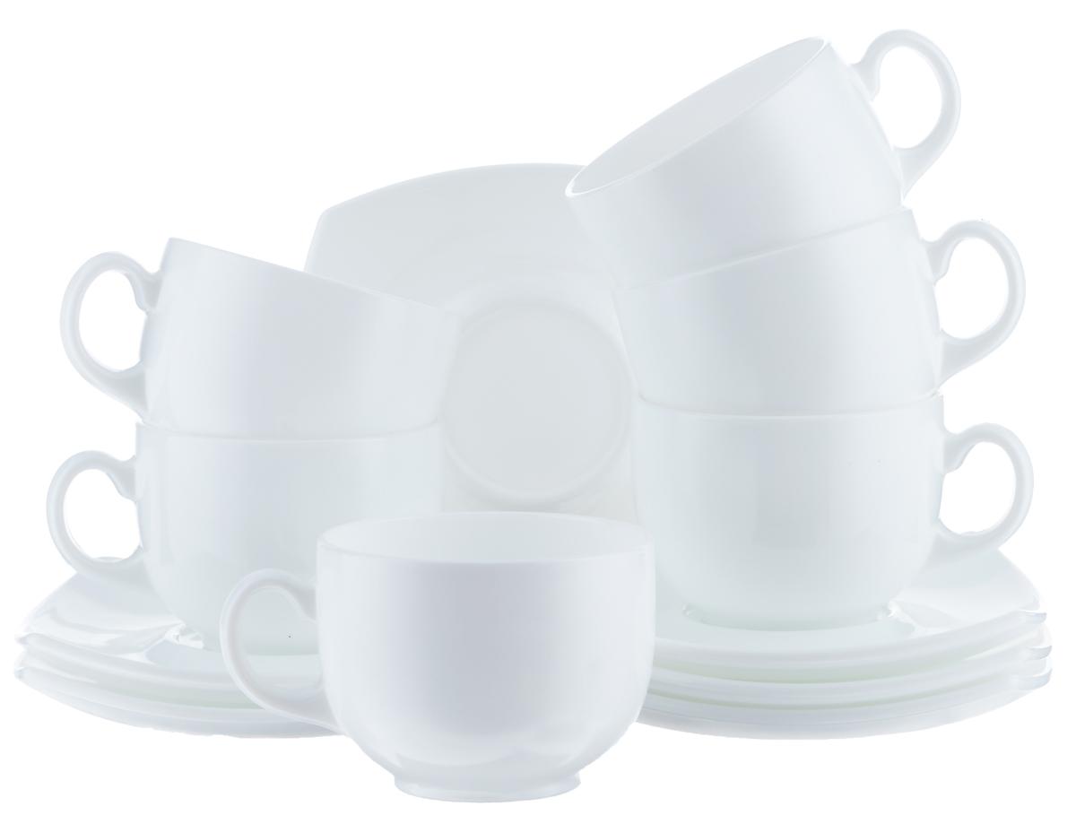 Набор чайный Luminarc Quadrato, цвет: белый, 12 предметовE8865Чайный набор Luminarc Quadrato состоит из шести чашек и шести блюдец. Предметы набора изготовлены из высококачественного стекла. Чайный набор яркого и в тоже время лаконичного дизайна украсит интерьер кухни и сделает ежедневное чаепитие настоящим праздником. Объем чашек: 220 мл. Диаметр чашек по верхнему краю: 8,3 см. Высота чашек: 6 см. Размер блюдец: 13,5 см х 13,5 см.