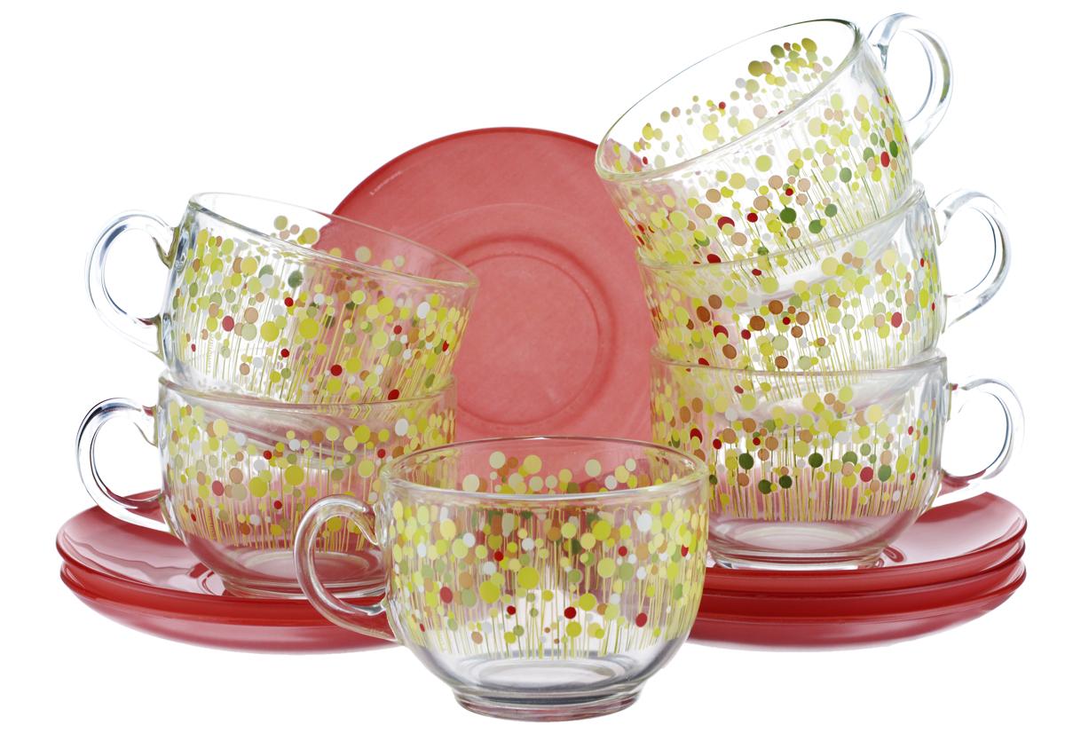 Набор чайный Luminarc Flowerfield, цвет: прозрачный, красный, желтый, 12 предметовH2486Чайный набор Luminarc Flowerfield состоит из шести чашек и шести блюдец. Предметы набора изготовлены из высококачественного стекла. Чайный набор яркого и в тоже время лаконичного дизайна украсит интерьер кухни и сделает ежедневное чаепитие настоящим праздником. Объем чашек: 220 мл. Диаметр чашек по верхнему краю: 8,3 см. Высота чашек: 6 см. Диаметр блюдец: 13 см.