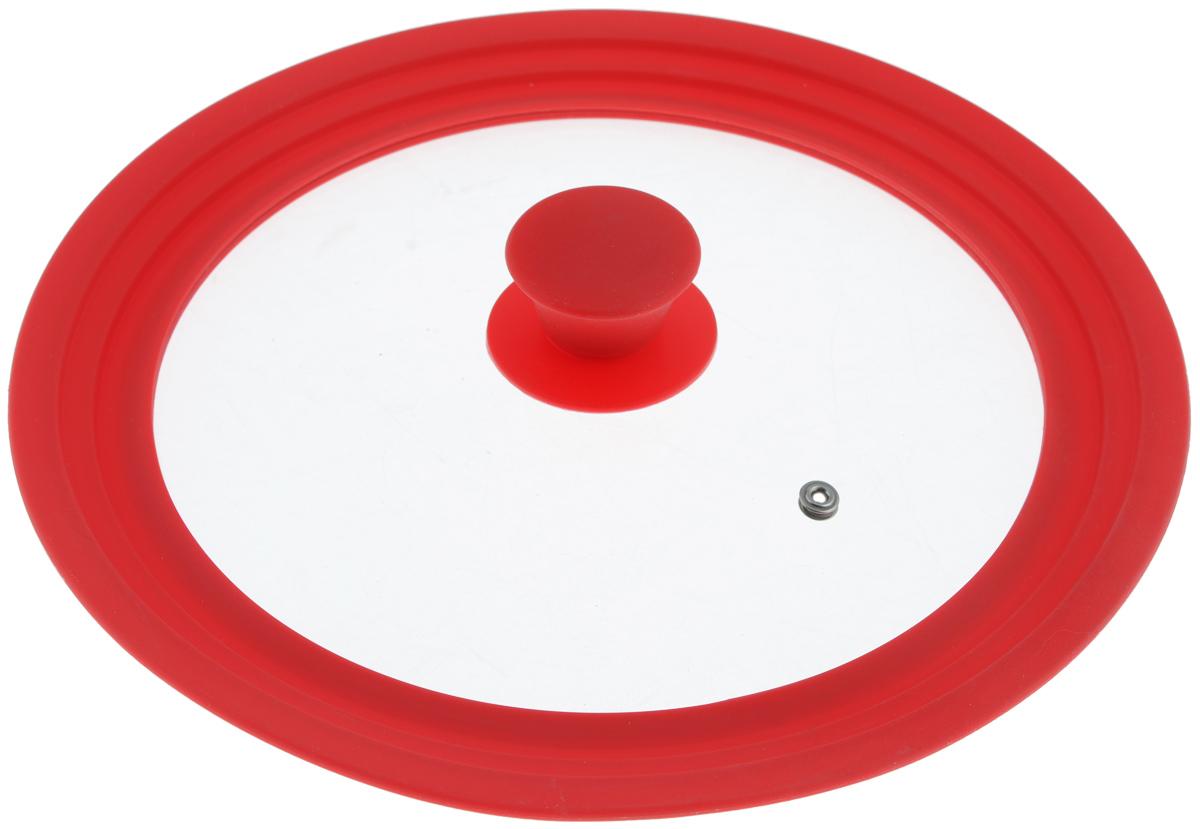 Крышка универсальная Miolla, цвет: красный, для сковород и кастрюль диаметром 24, 26, 28 см1015028UКрышка Miolla подходит в качестве универсальной крышки к сковородам и кастрюлям диаметром 24, 26, 28 см. Изготовлена из огнеупорного стекла с высококачественным силиконовым ободом. Имеет одно отверстие для выхода пара. Ручка не нагревается. Можно мыть в посудомоечной машине. Невероятно красивые, стильные и функциональные товары бренда Miolla помогут создать дома атмосферу уюта. Современные, продуманные решения для уборки ваших квартир - всё, о чем мечтает каждая хозяйка!