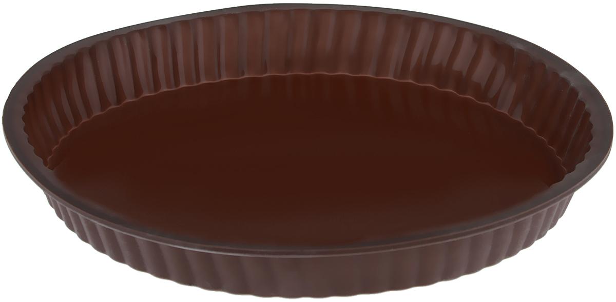 Форма для выпечки Taller, цвет: коричневый, диаметр 26 смTR-6203_коричневыйКруглая форма для выпечки Taller изготовлена из силикона - материала, который выдерживает температуру от -20°С до +220°С. Изделия из силикона очень удобны в использовании: пища в них не пригорает и не прилипает к стенкам, форма легко моется. Приготовленное блюдо можно очень просто вытащить, просто перевернув форму, при этом внешний вид блюда не нарушится. Изделие обладает эластичными свойствами: складывается без изломов, восстанавливает свою первоначальную форму. Порадуйте своих родных и близких любимой выпечкой в необычном исполнении. Подходит для приготовления в микроволновой печи и духовом шкафу при нагревании до +220°С; для замораживания до -20°С и чистки в посудомоечной машине. Диаметр формы (по внутреннему краю): 24 см. Высота стенок: 3 см.