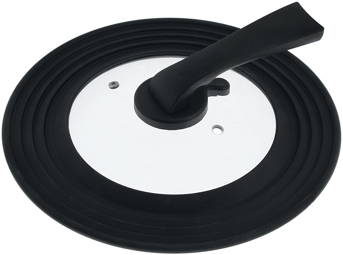 Крышка универсальная Miolla, цвет: черный, для сковород и кастрюль диаметром 22, 24, 26, 28 см1015034UКрышка Miolla подходит в качестве универсальной крышки к сковородам и кастрюлям диаметром 22, 24, 26, 28 см. Изготовлена из огнеупорного стекла с высококачественным силиконовым ободом. Имеет одно отверстие для выхода пара. Ручка не нагревается. Можно мыть в посудомоечной машине. Невероятно красивые, стильные и функциональные товары бренда Miolla помогут создать дома атмосферу уюта. Современные, продуманные решения для уборки ваших квартир - всё, о чем мечтает каждая хозяйка!